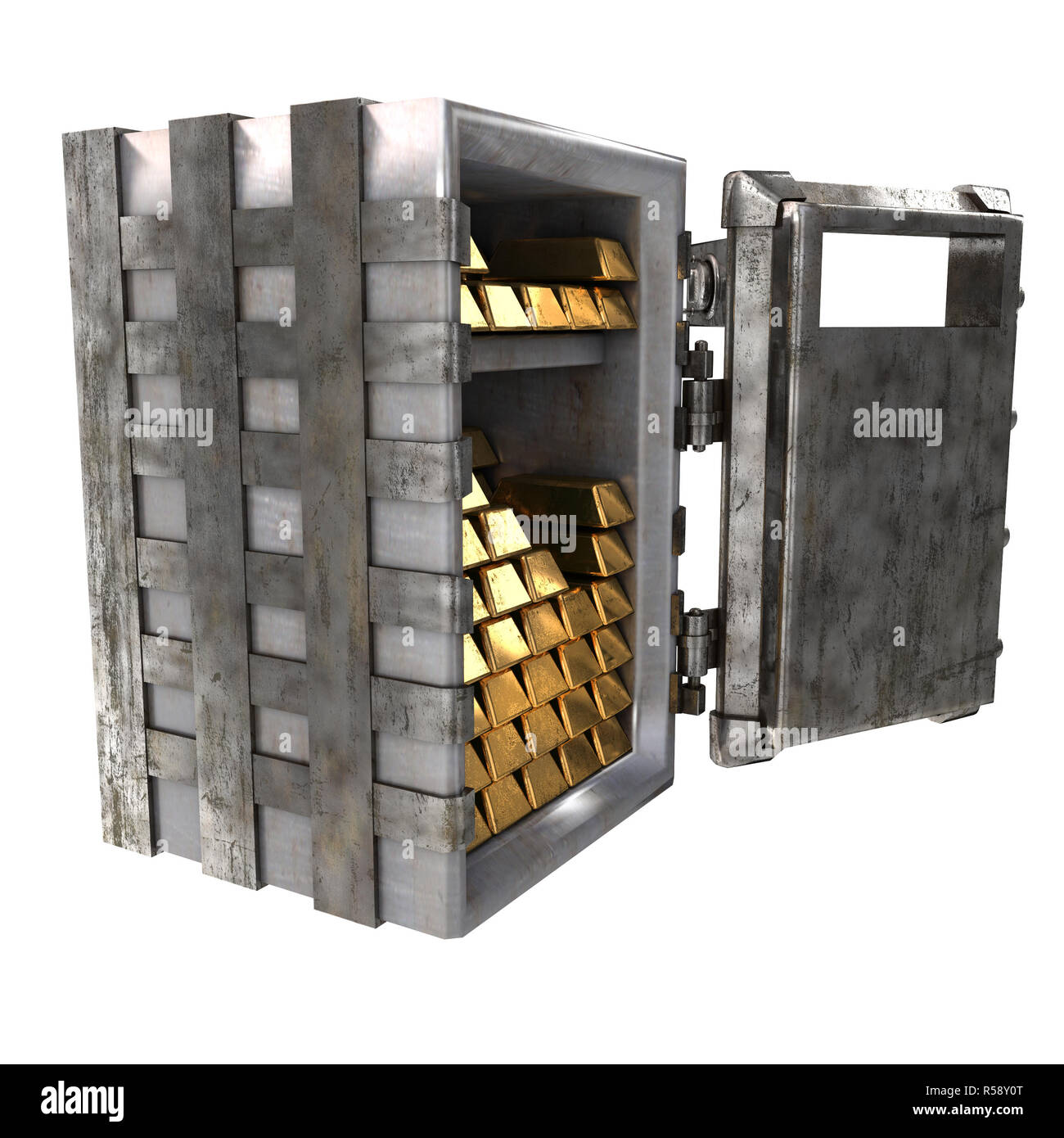 Old open safe with gold bars on an isolated white background. 3d illustration - Stock Image