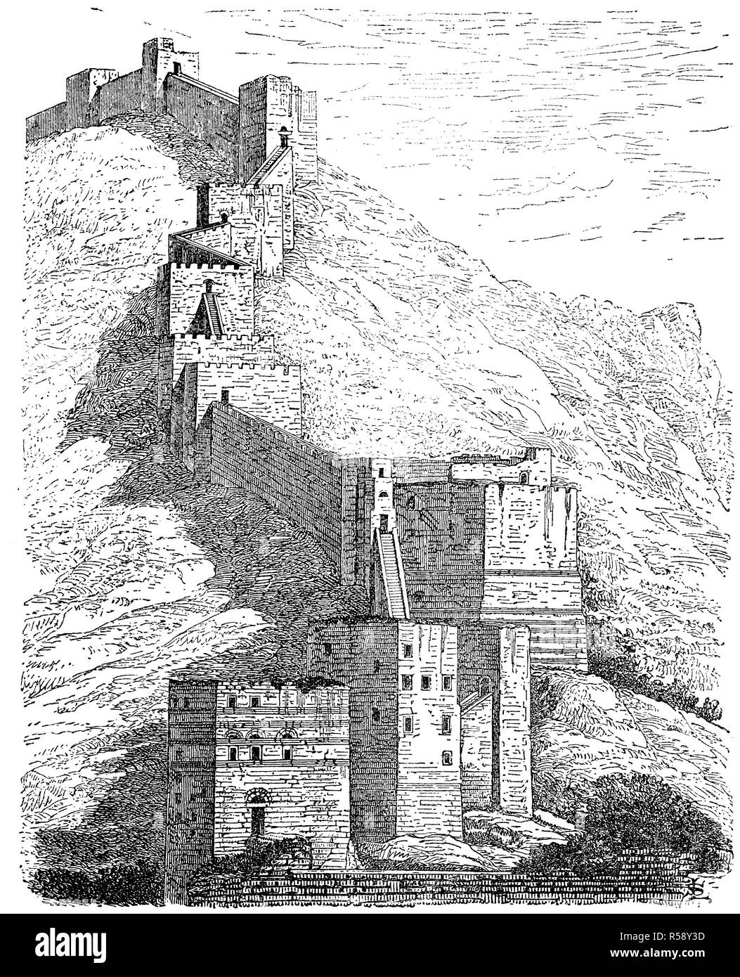 Digital improved reproduction, the fortress walls of Antiochia, today Syria, die Westseite der Festungsmauer von Antiochia, heute Syrien, original print from th 19th century - Stock Image