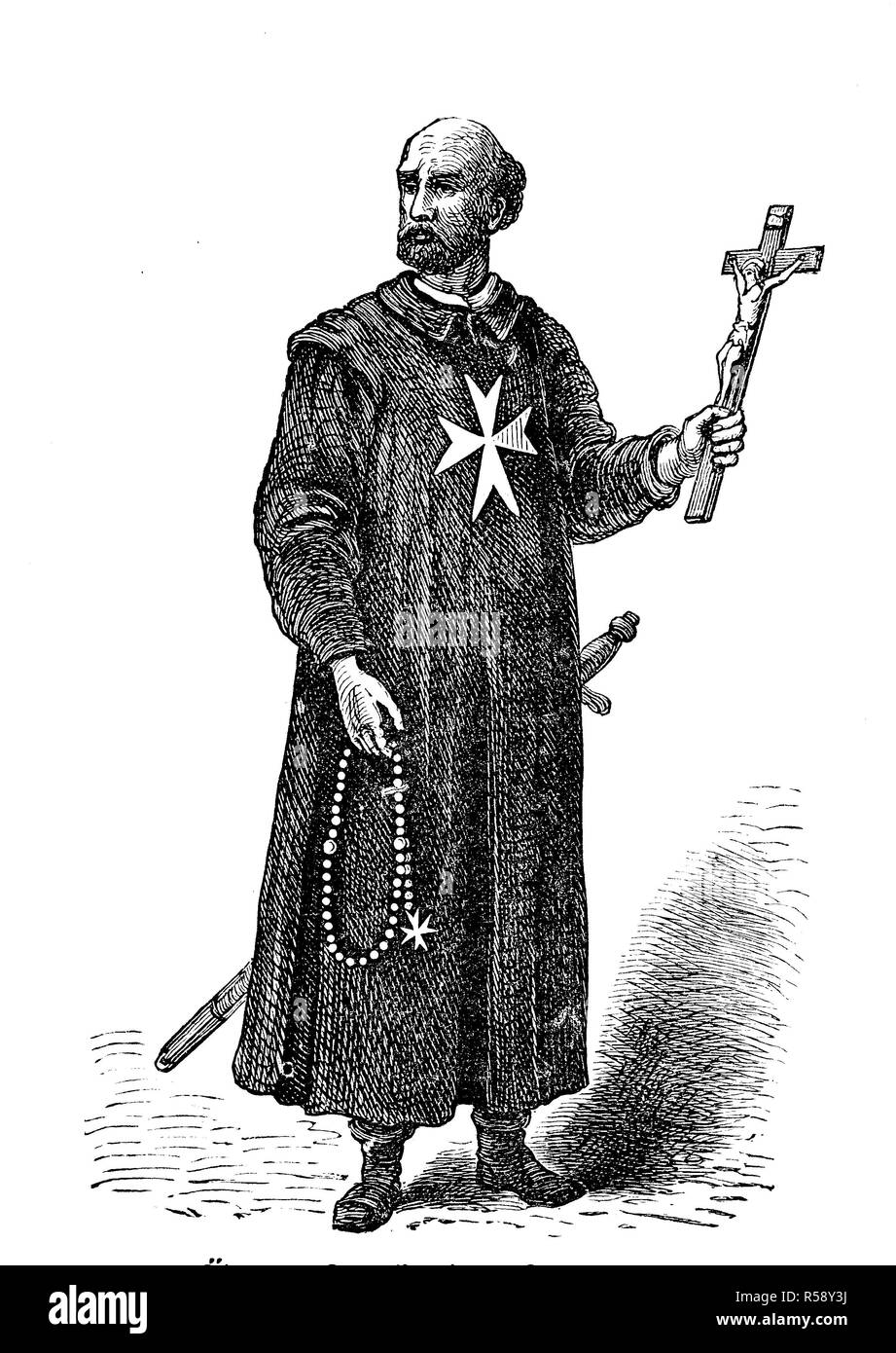 Digital improved reproduction, older costume of the members of the Order of Saint John, ältere Tracht der Johanniter, Johanniterorden, original print from th 19th century - Stock Image