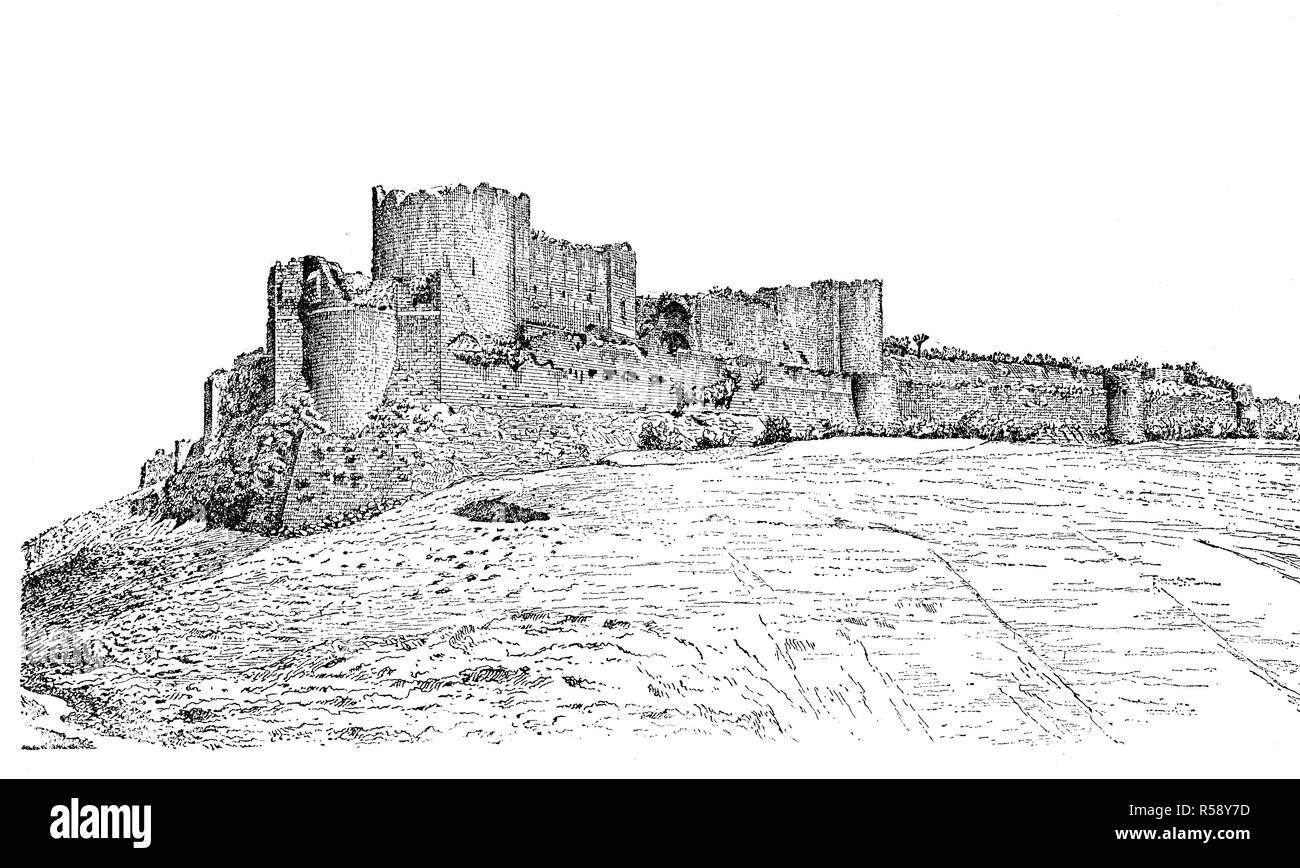 Digital improved reproduction, ruins of Margat, also known as Marqab from the Arabic Qalaat al-Marqab, a castle near Baniyas, Syria, which was a Crusader fortress, Burg Margat, Markab, eine Burgruine in Syrien, Kreuzfahrerfestung, Hospitaliterschloß, original print from th 19th century - Stock Image