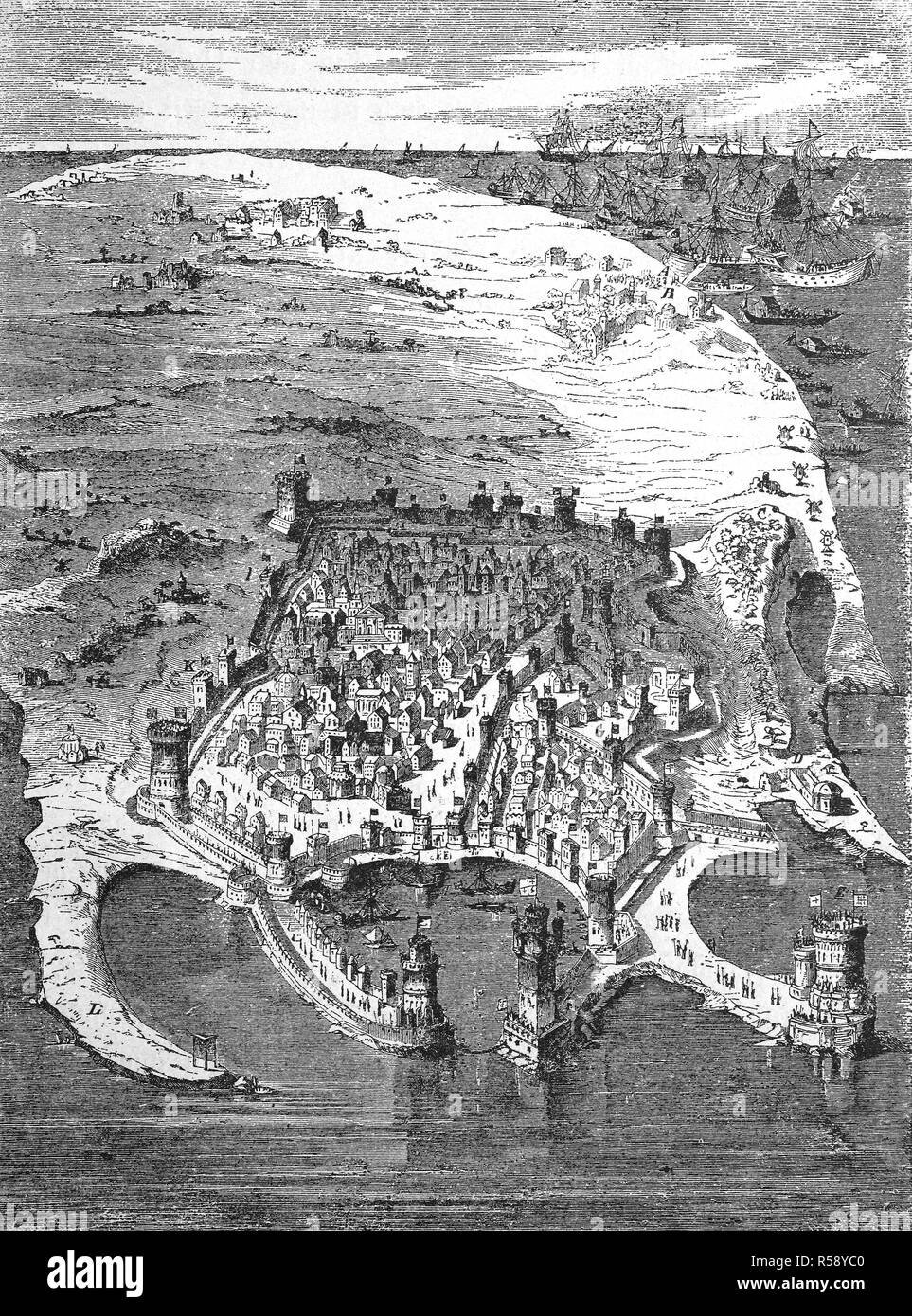 Digital improved reproduction, the island of Rhodos, Greece, in the year 1480, before siege by the Ottomans, Rhodos, Griechenland im Jahre 1480, vor der Belagerung, original print from th 19th century - Stock Image