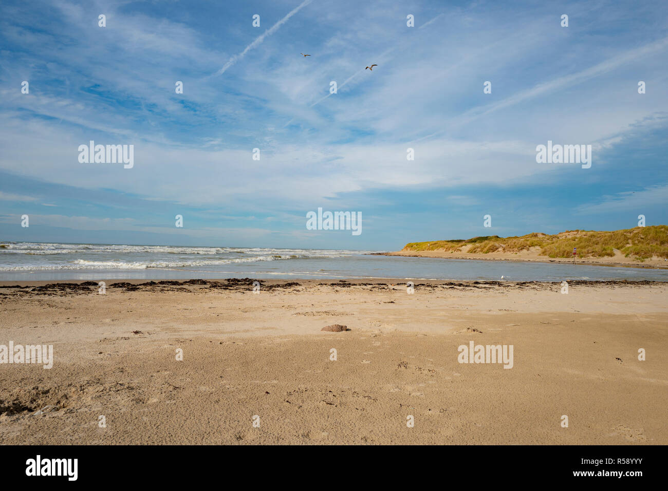 Beach in Hardelot in Northen France - Stock Image