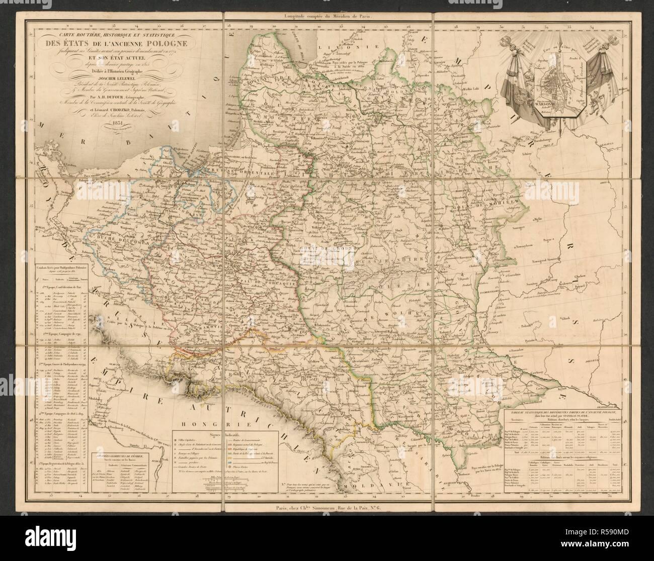 Poland. Carte routière, historique et statistique des État. Paris, 1831. Source: Maps.C.44.b.52,. Language: French. - Stock Image