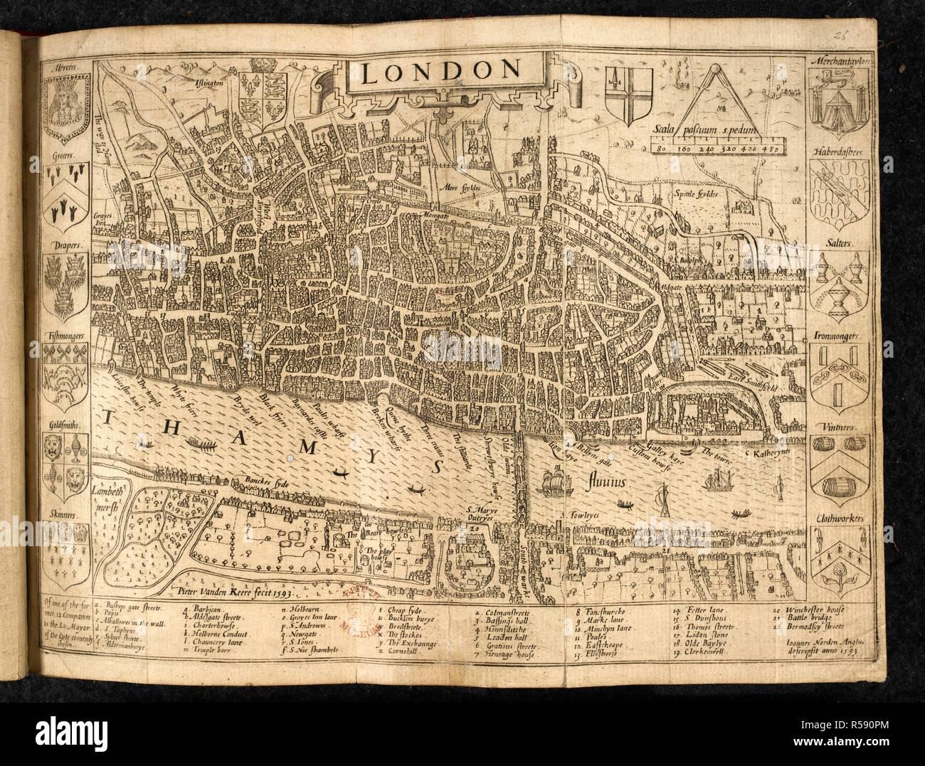 A map of London. London. Ioannes Norden Anglus descripsit anno 1593. Pieter vanden Keere fecit. Scala passuum 5 pedum, 320[ = 25 mm]. [London], 1593. Source: Maps C.7.b.23.(1.), opposite page 26. Language: English. Stock Photo