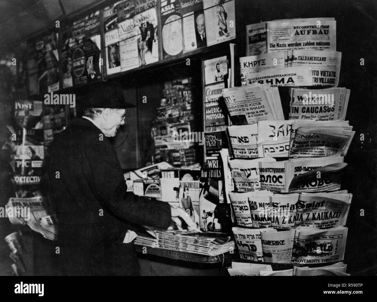 Foreign Language Newspapers Published in the United States are Displayed and Sold along Newspapers Published in the English Language Stock Photo