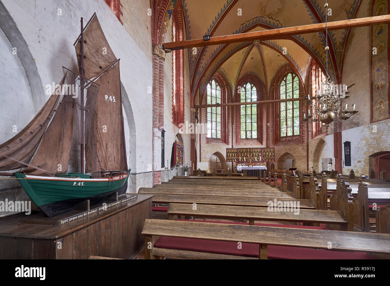 Inside view of the church with Zeesenboot in Kirchdorf, Insel Poel, Mecklenburg-Vorpommern, Germany - Stock Image