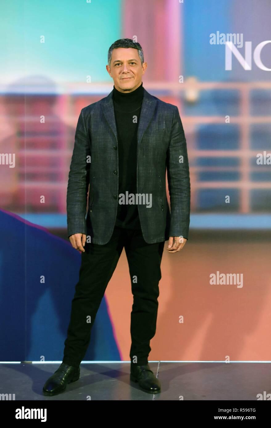 "Singer Alejandro Sanz during presentation of his single "" No tengo Nada "" in Madrid on Friday , 30 November 2018 Stock Photo"