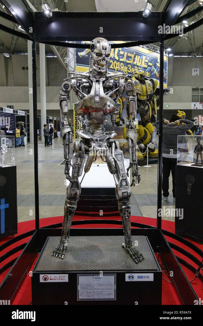 Chiba, Japan. 30th Nov, 2018. A replica of Terminator T-800 on display on display during the Tokyo Comic Con 2018 at Makuhari Messe International Exhibition Hall in Chiba. Organizers expect approx. 50,000 visitors during the third annual edition of Tokyo Comic Con which is taking place from November 30 to December 2. Credit: Rodrigo Reyes Marin/ZUMA Wire/Alamy Live News - Stock Image
