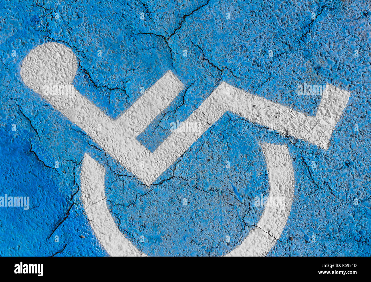 Handicapped parking sign on floor Stock Photo
