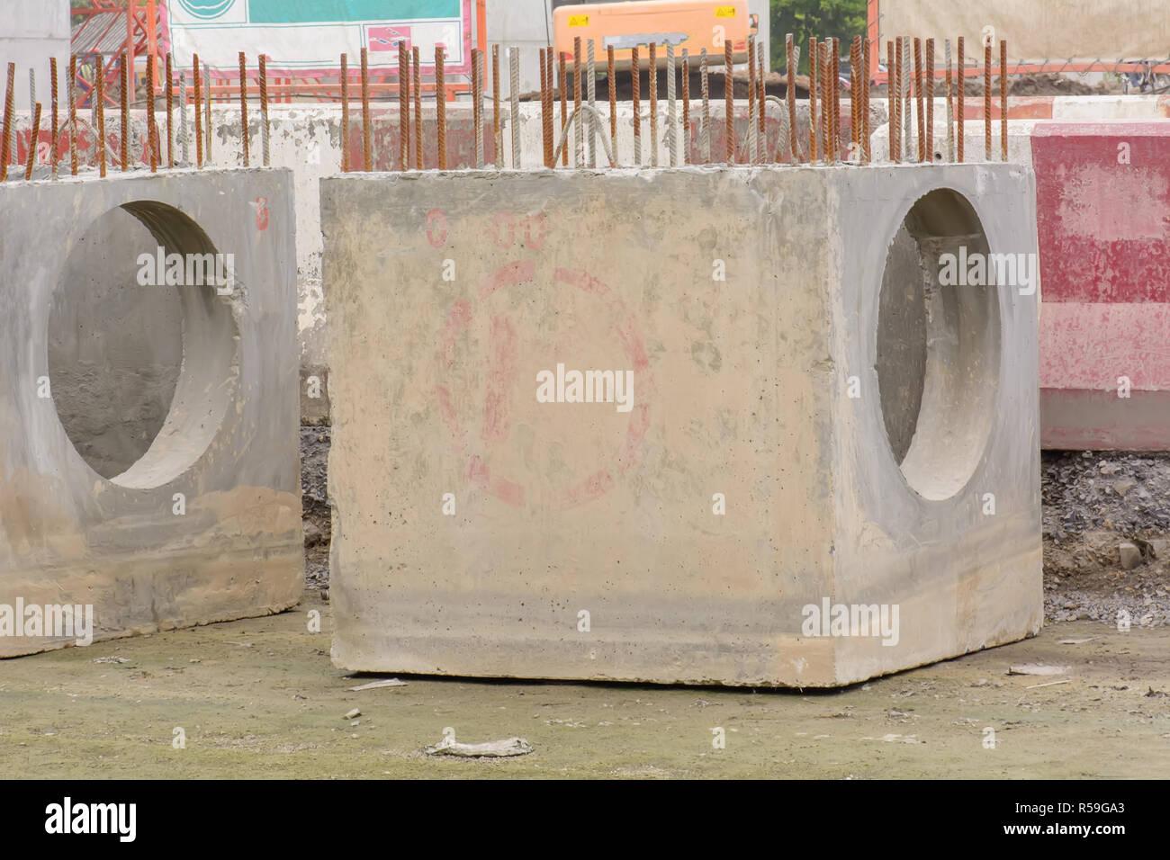 Precast concrete manholes - Stock Image