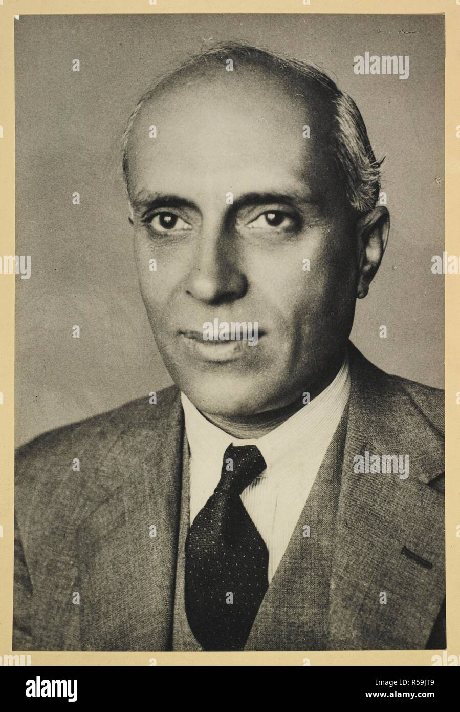 A head and shoulders portrait of Jawaharlal Nehru. Portrait of Pandit Jawaharlal Nehru. c. 1930. Photograph. Source: Photo 308/(1). Author: UNKNOWN. - Stock Image