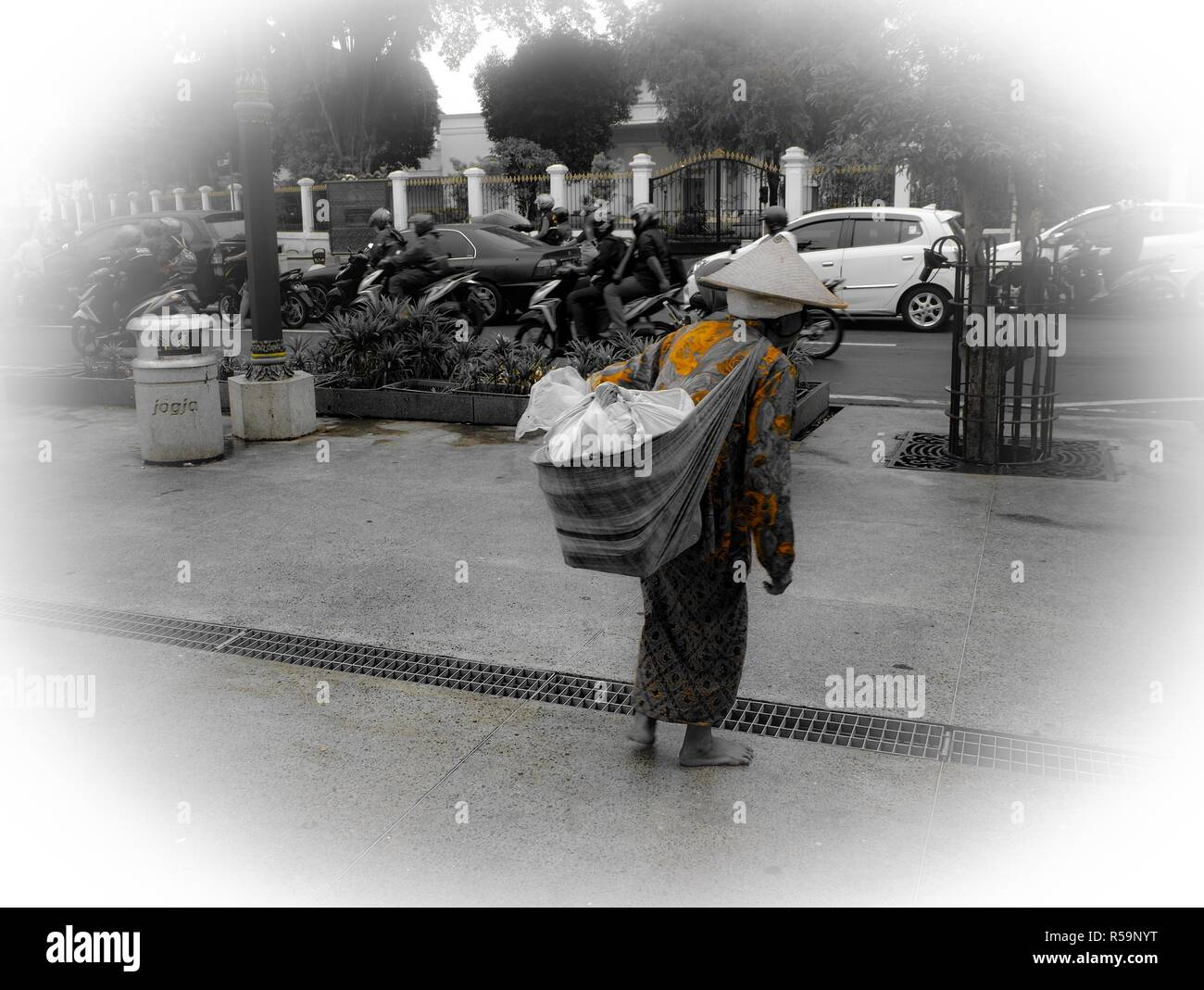 Human interest that depicts the situation in Malioboro, Yogyakarta. The rime when the photo was taken was at late afternoon - Stock Image