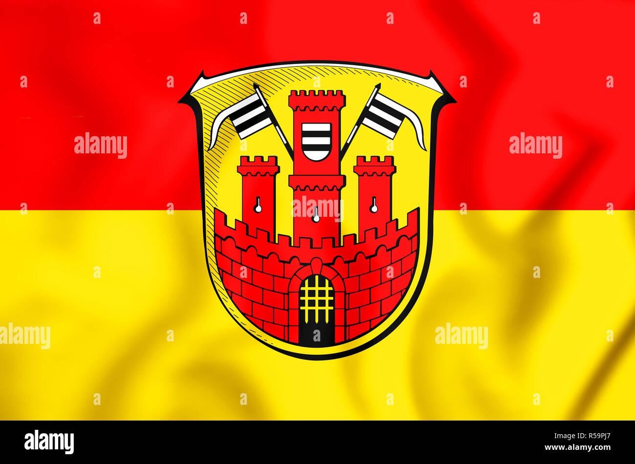 3D Flag of Buedingen (Hesse), Germany. 3D Illustration. Stock Photo