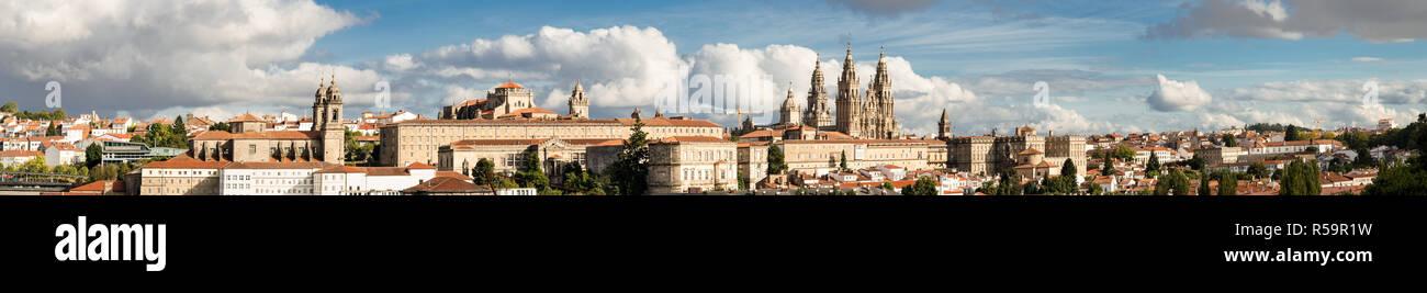 Santiago de Compostela wide panoramic view High resolution. Destiny of the way of St. James. Pilgrimage. UNESCO World Heritage Site - Stock Image