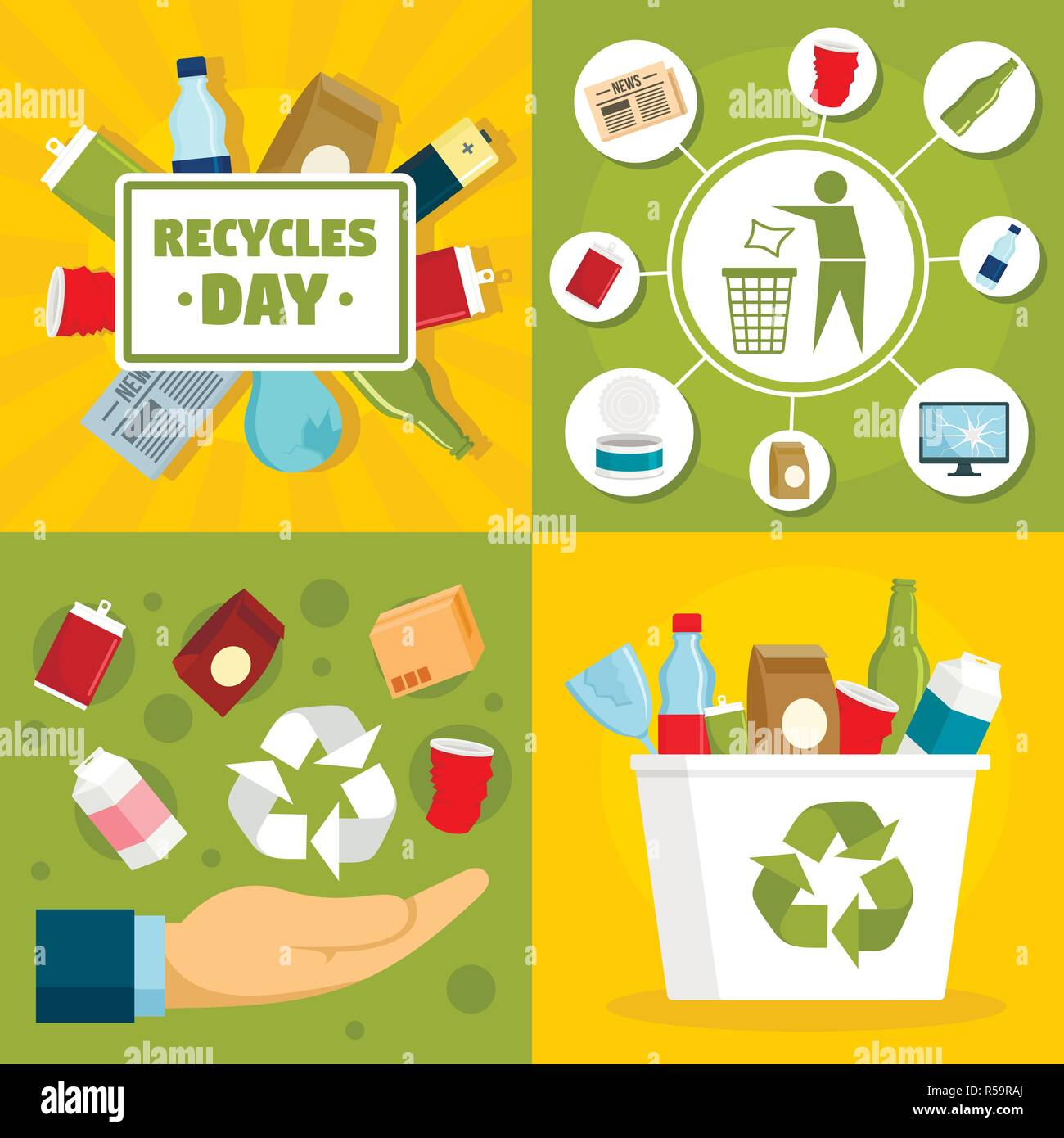 Recycles day banner set. Flat illustration of recycles day vector banner set for web design - Stock Image