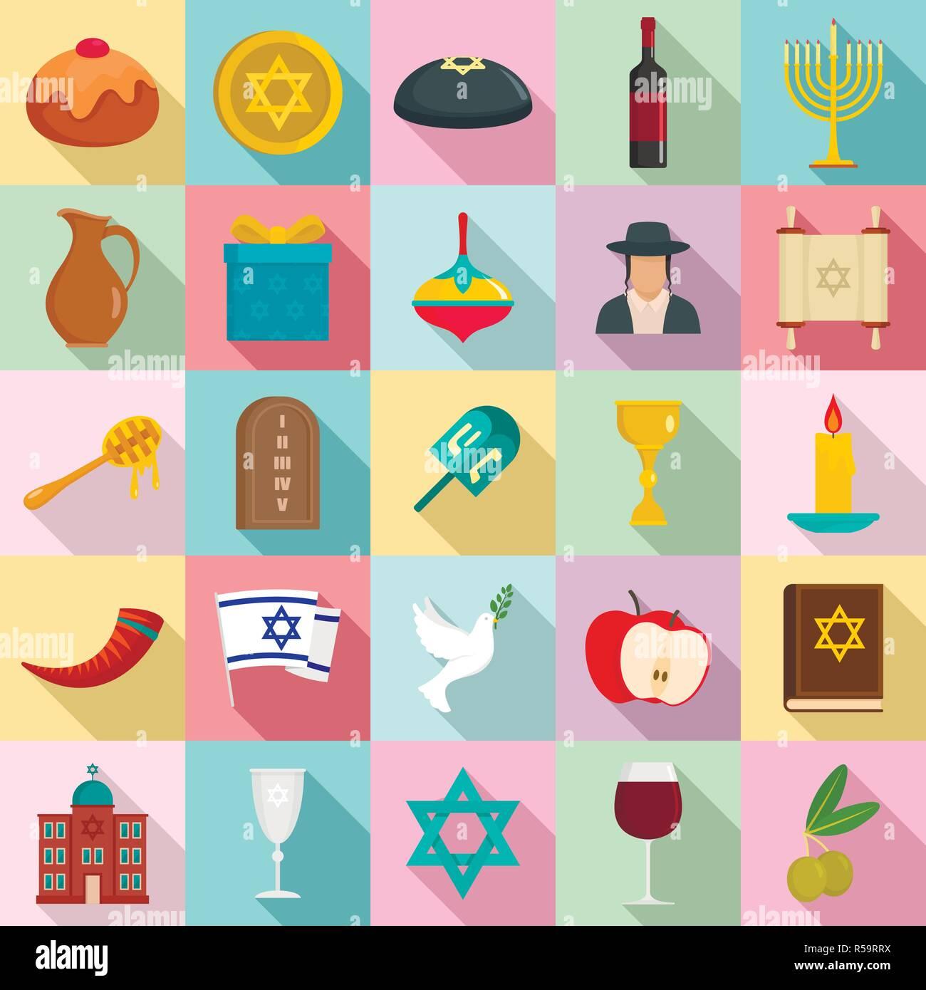 Happy hanukkah icon set. Flat set of happy hanukkah vector icons for web design - Stock Vector