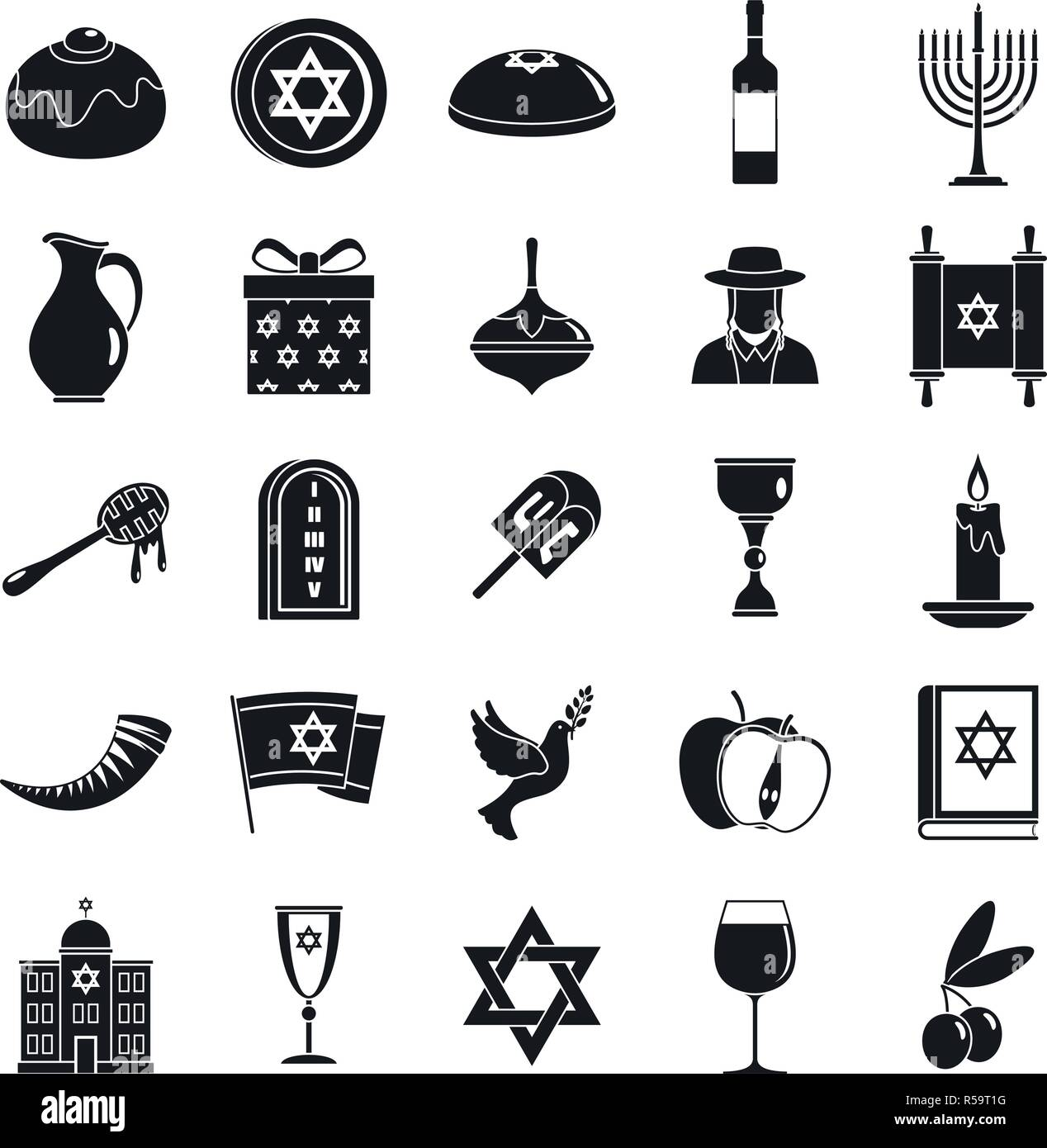 Hanukkah menorah icon set. Simple set of hanukkah menorah vector icons for web design on white background Stock Vector