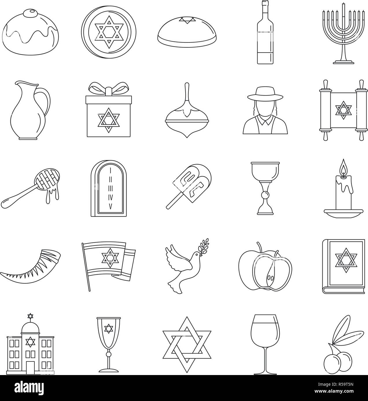Hanukkah holiday icon set. Outline set of hanukkah holiday vector icons for web design isolated on white background - Stock Vector