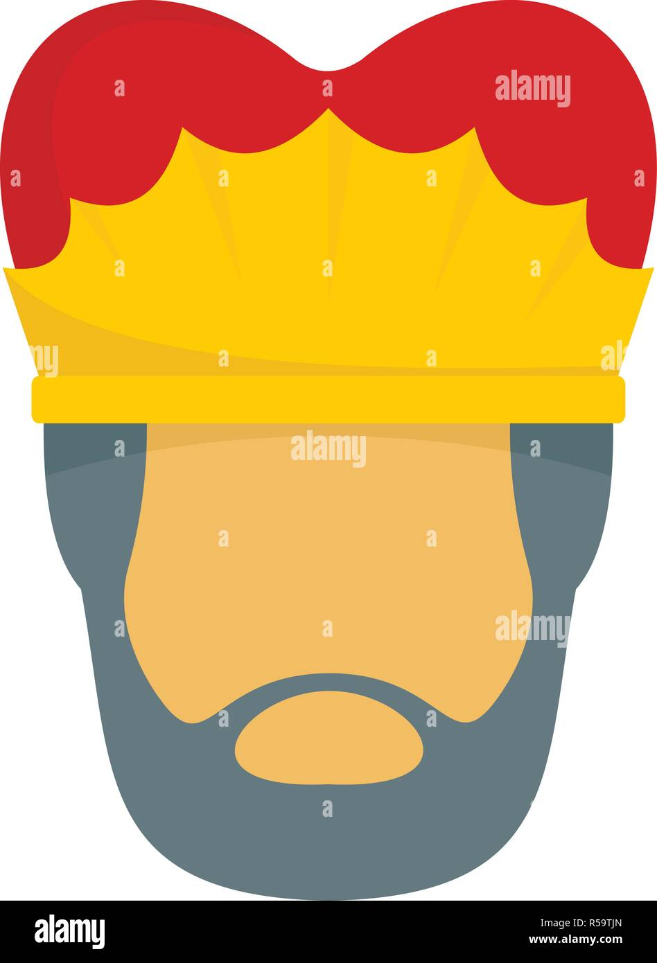 Royal king face icon. Flat illustration of royal king face vector icon for web design - Stock Image