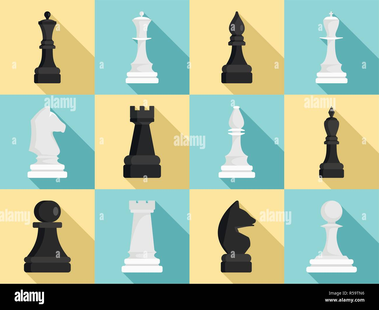 Chess icon set. Flat set of chess vector icons for web design Stock Vector