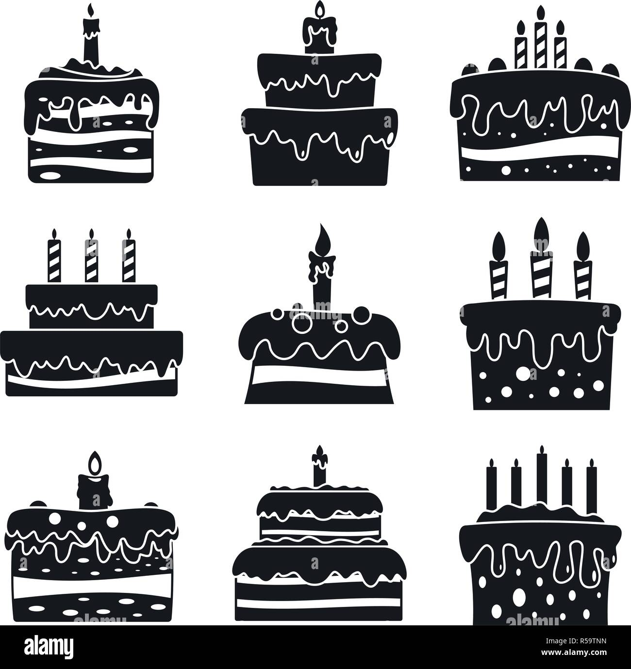 Cream Cake Birthday Icon Set Simple Set Of Cream Cake Birthday