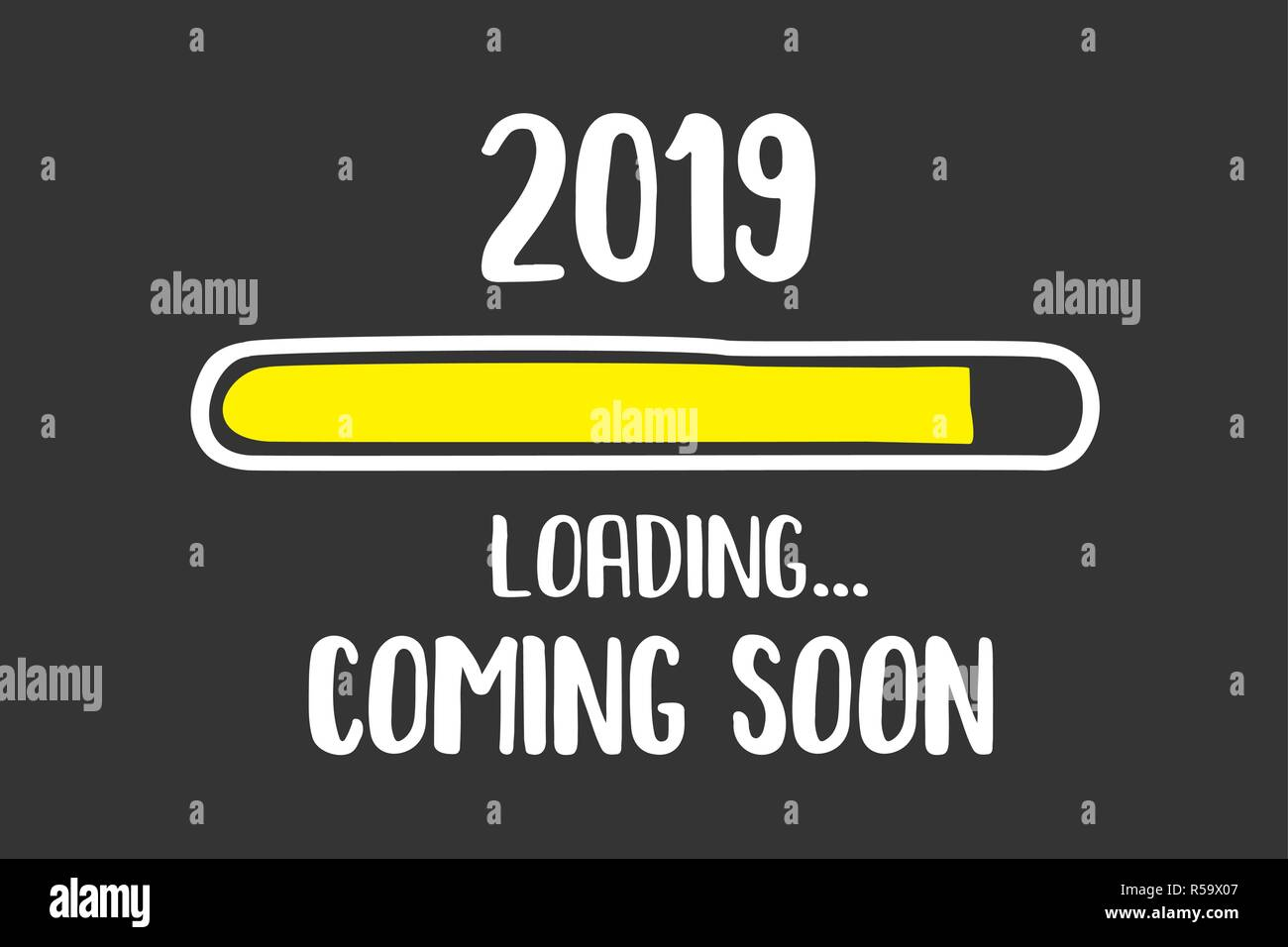 Doodle Download bar,2019 coming soon loading text,black