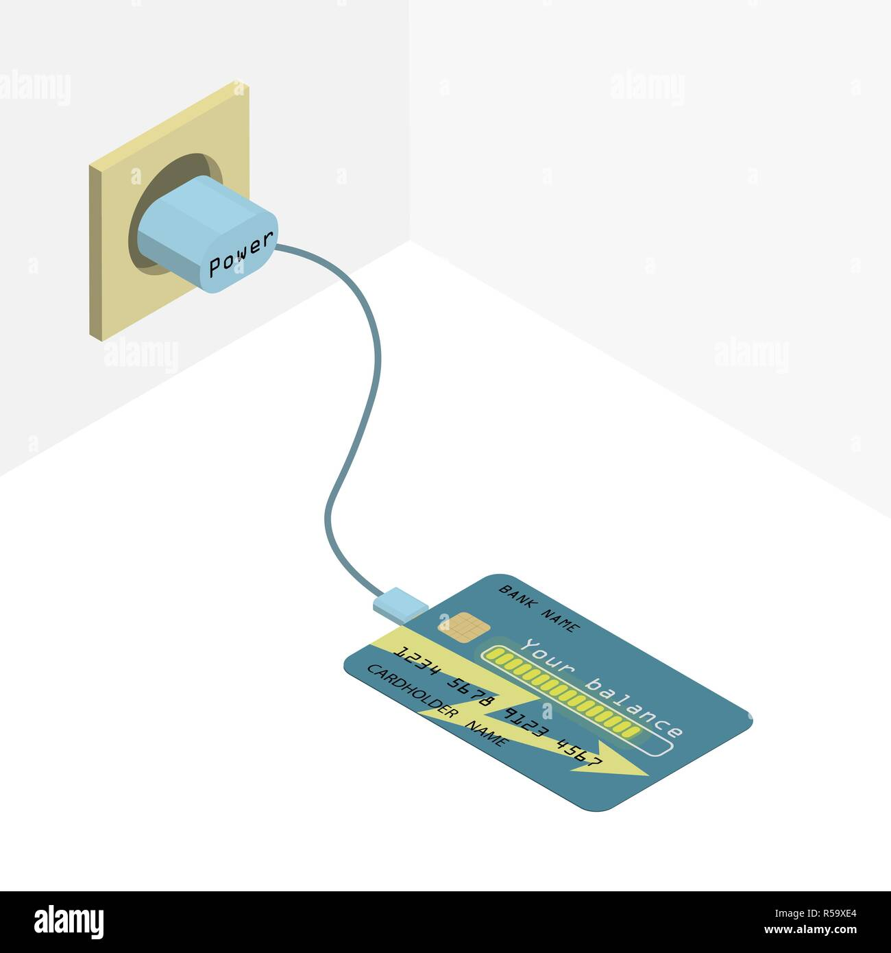 Credit card on charge. The credit card abstractly charges its balance. - Stock Vector