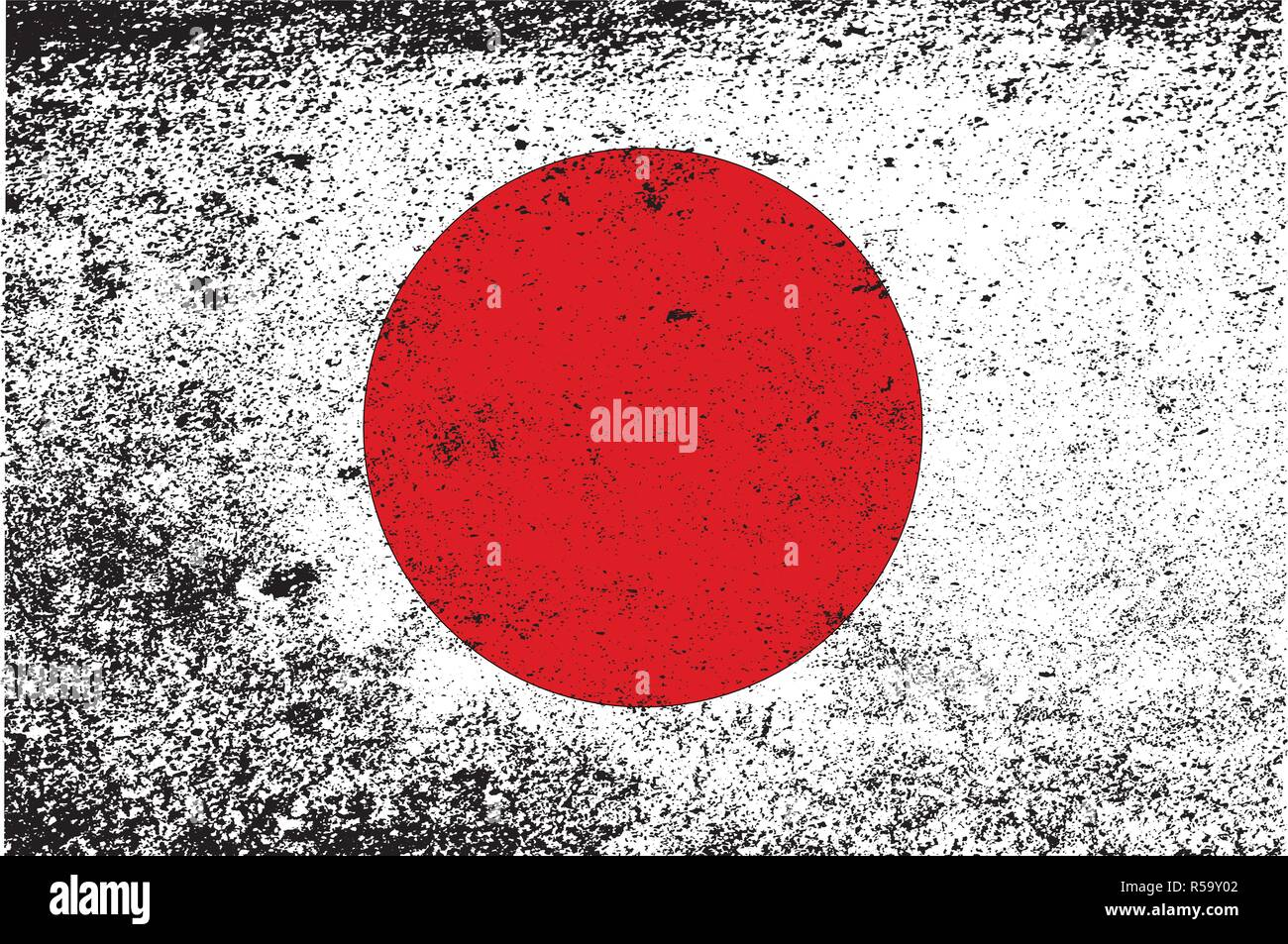 A grunge version of the Japanese rising sun flag - Stock Image