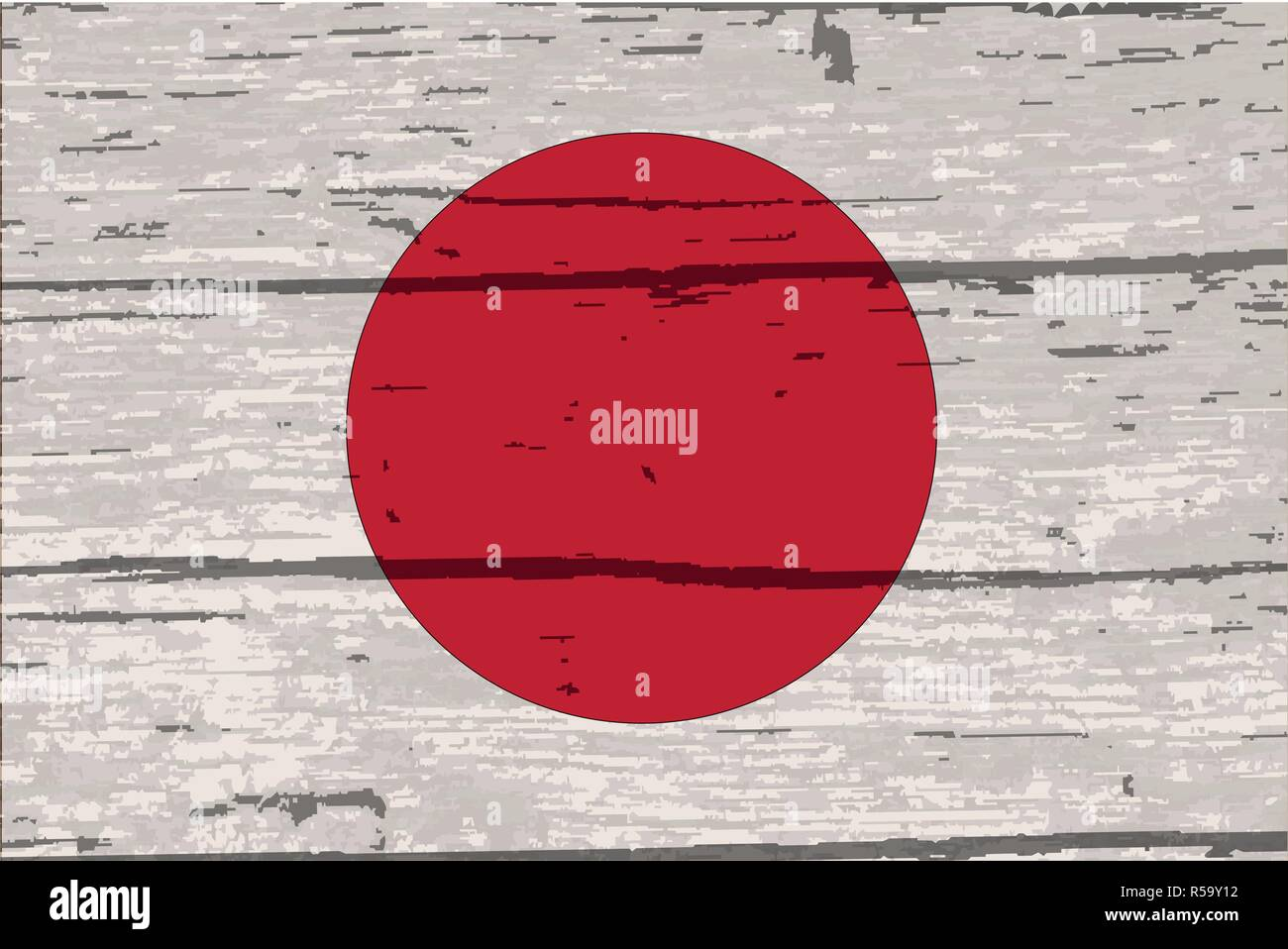 Japanes rising sun flag on driftwood timber background with a white paint overlay - Stock Image