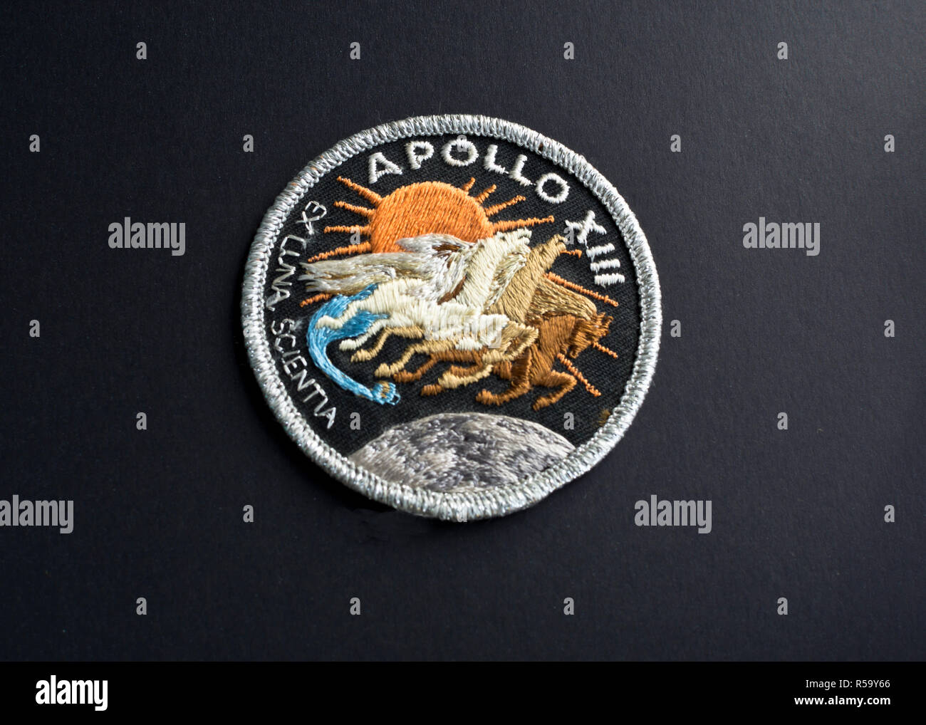 Mission patch from the NASA Apollo 13 space flight.  Mission badge for Apollo XIII spaceflight. - Stock Image