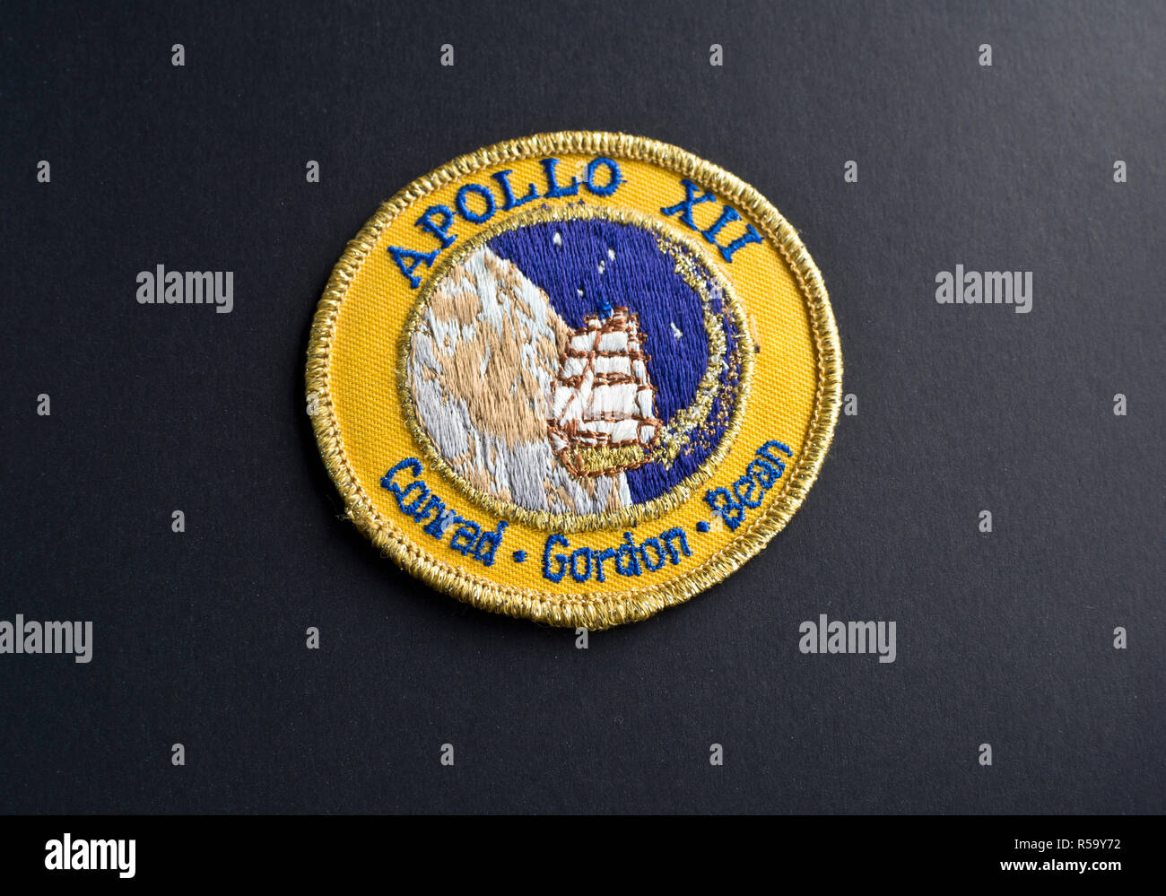 NASA Apollo 12 mission patch.  Embroidered mission patch. - Stock Image
