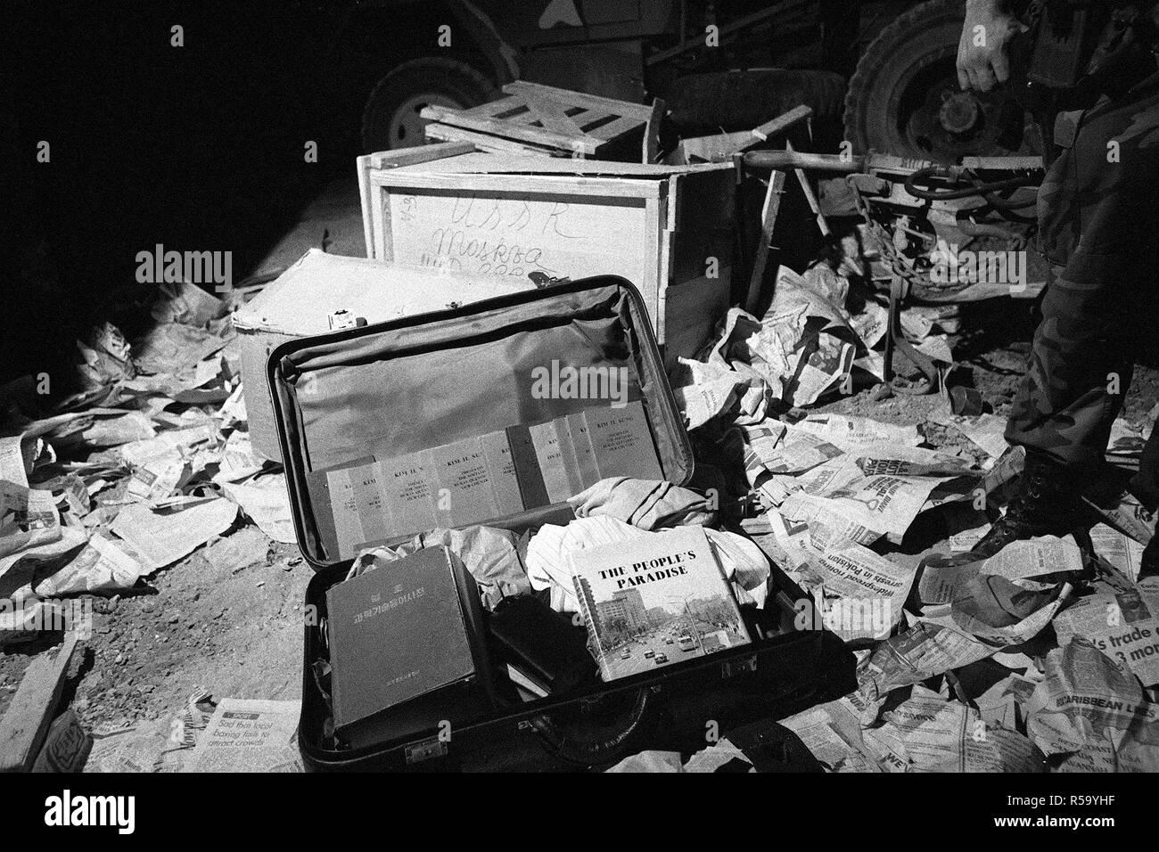 Communist literature was found in a suitcase seized during the multiservice, multinational Operation URGENT FURY. - Stock Image