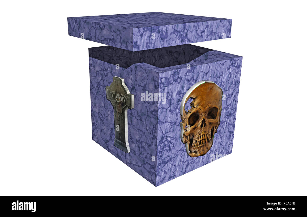 free stone sarcophagus - Stock Image