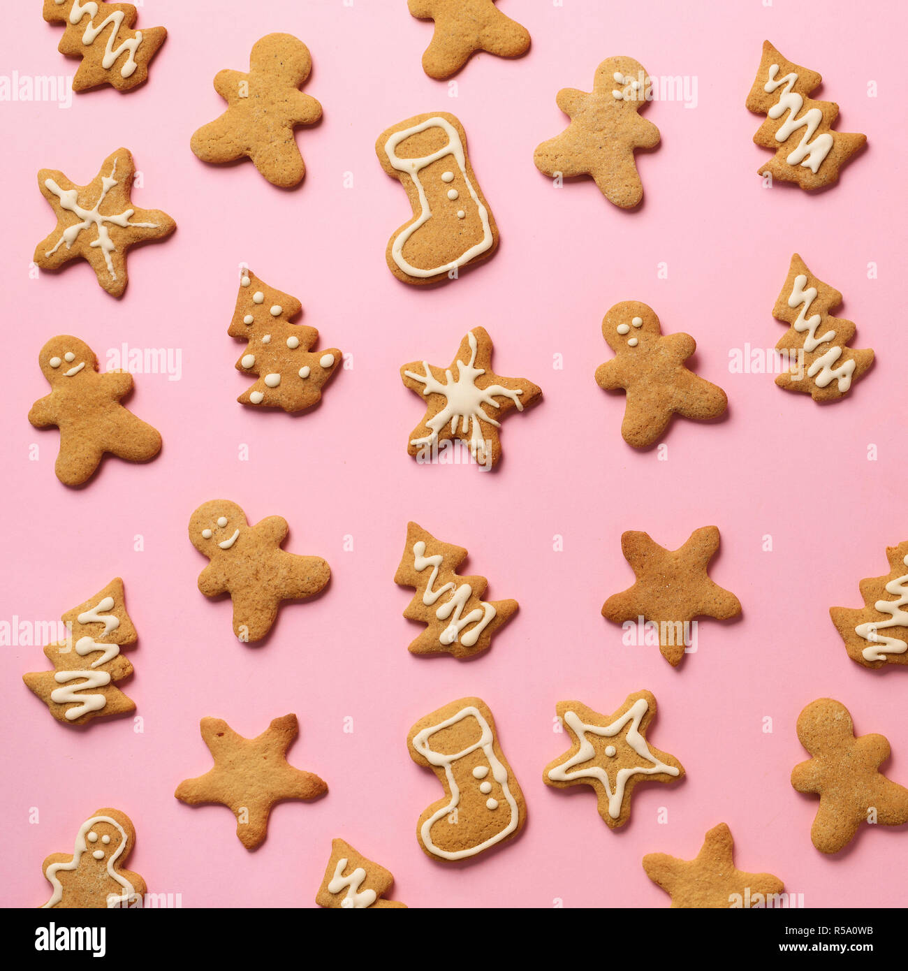 Homemade Christmas Cookies On Pink Background Square Crop Pattern
