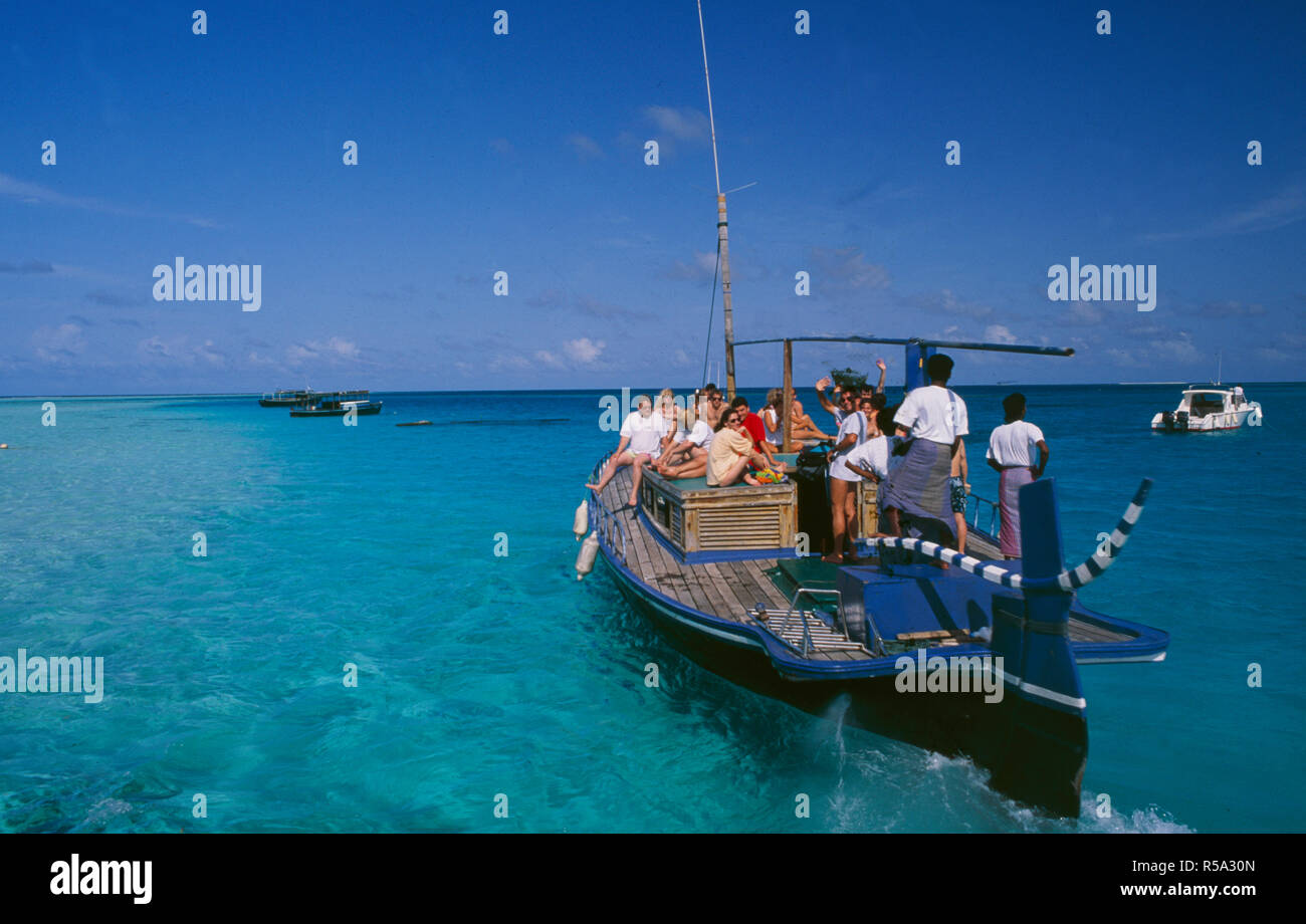 Digofinolu-Veligandahura:  tourist-boattrip for diving, snorkeling, swimming and relaxing in the Maledives Islands - Stock Image