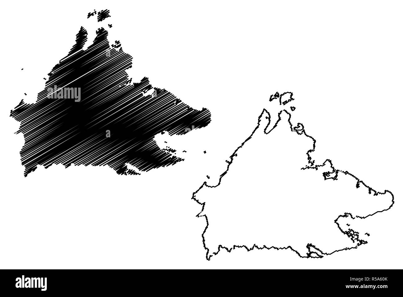 Sabah (States and federal territories of Malaysia, Federation of Malaysia) map vector illustration, scribble sketch Sabah map - Stock Image