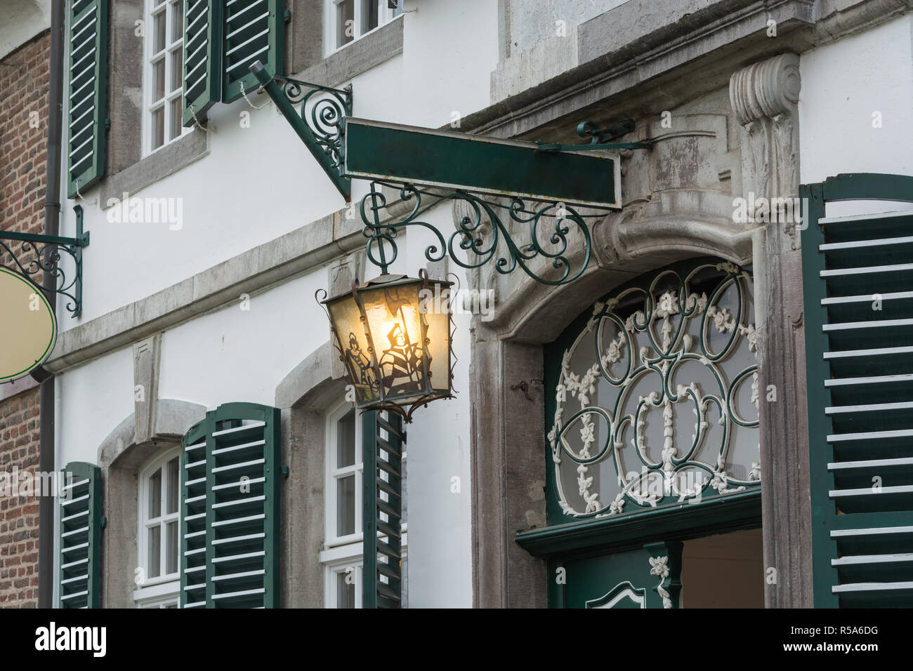 medieval lit streets lantern - Stock Image