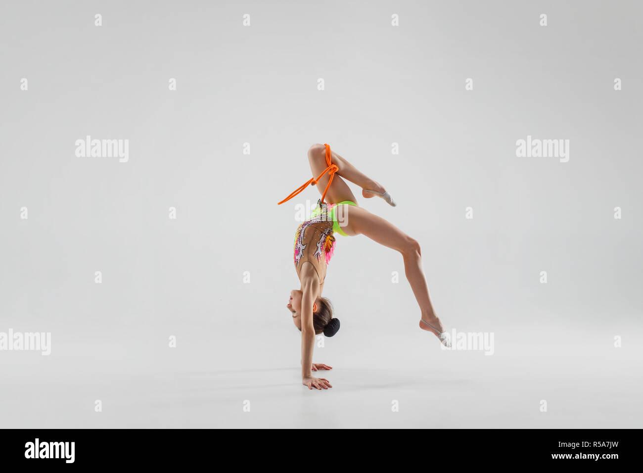 b887f315f Young Slim Teen Girl Gymnastic Stock Photos   Young Slim Teen Girl ...