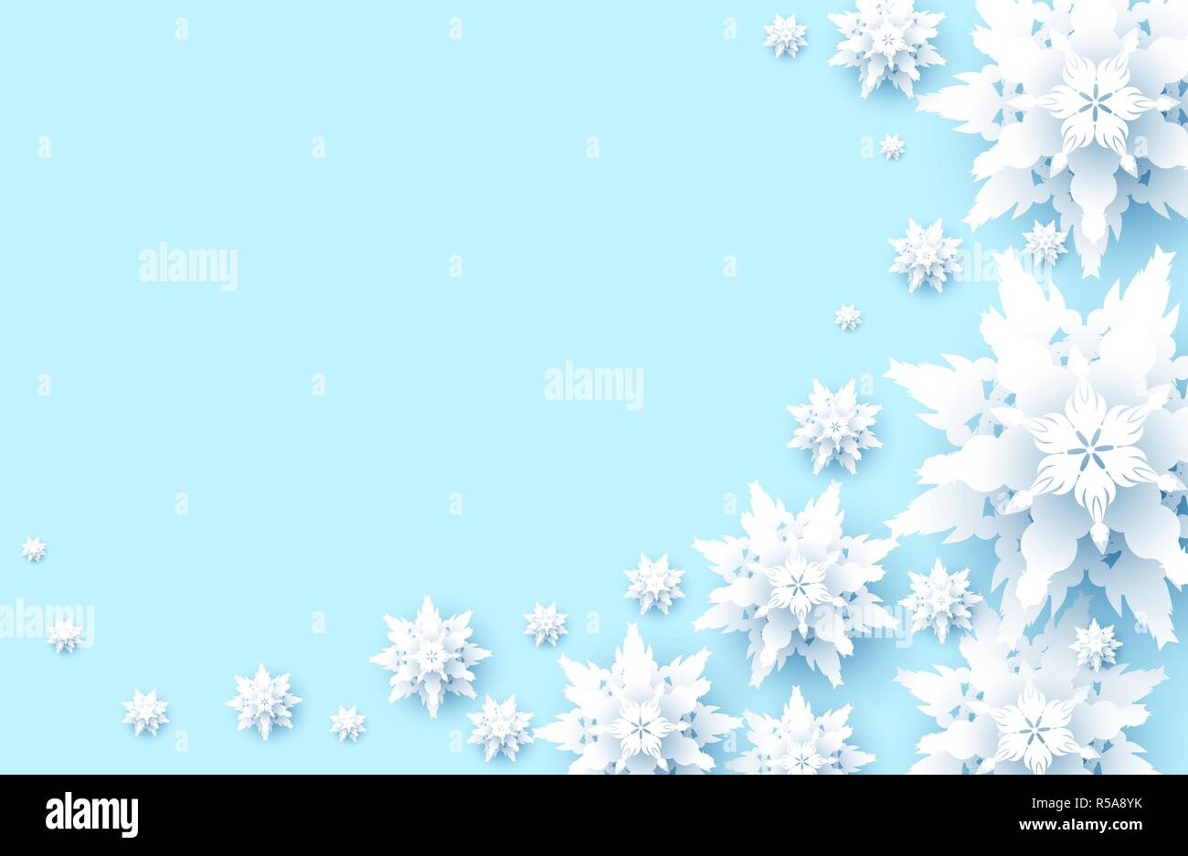 winter holiday realistic paper cut snowflakes snow christmas