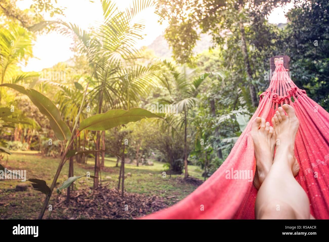 girl lying in a hammock in the tropical jungles of Brazil. Brasil - Stock Image