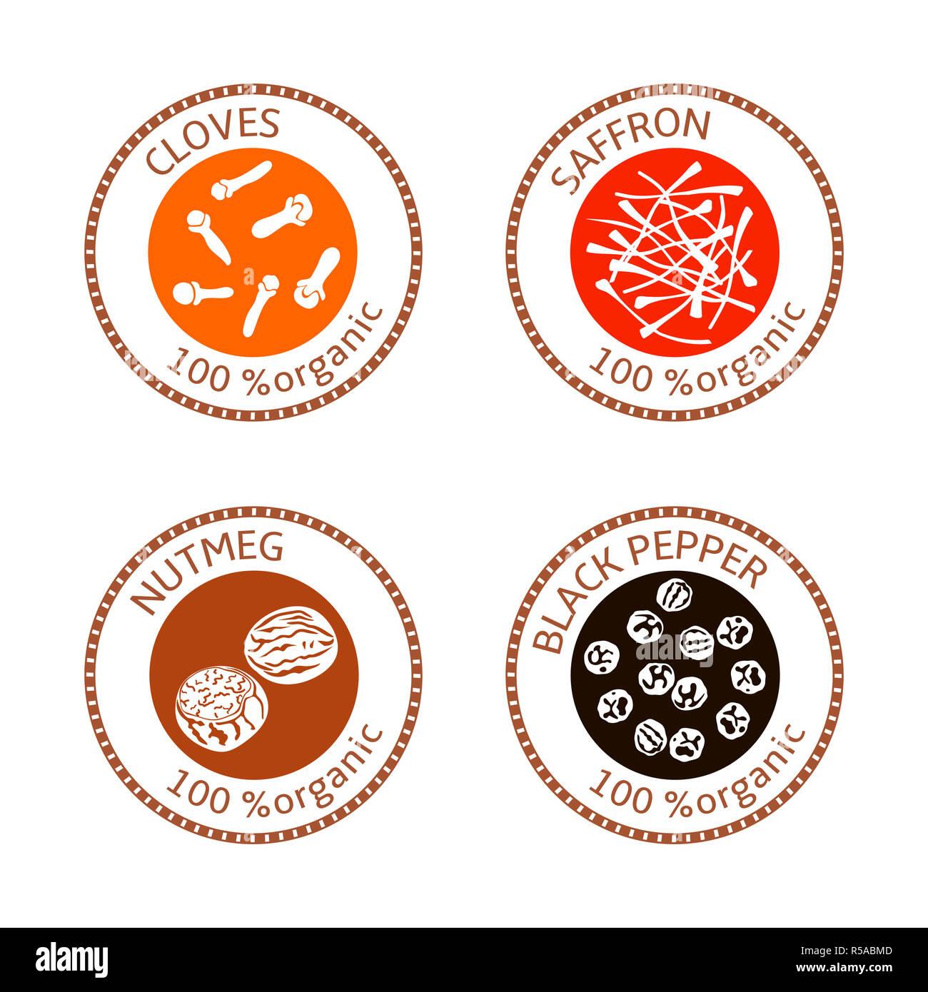 Mint Leaves Organic Logo Concept: Flat Spice Logo Stock Photos & Flat Spice Logo Stock