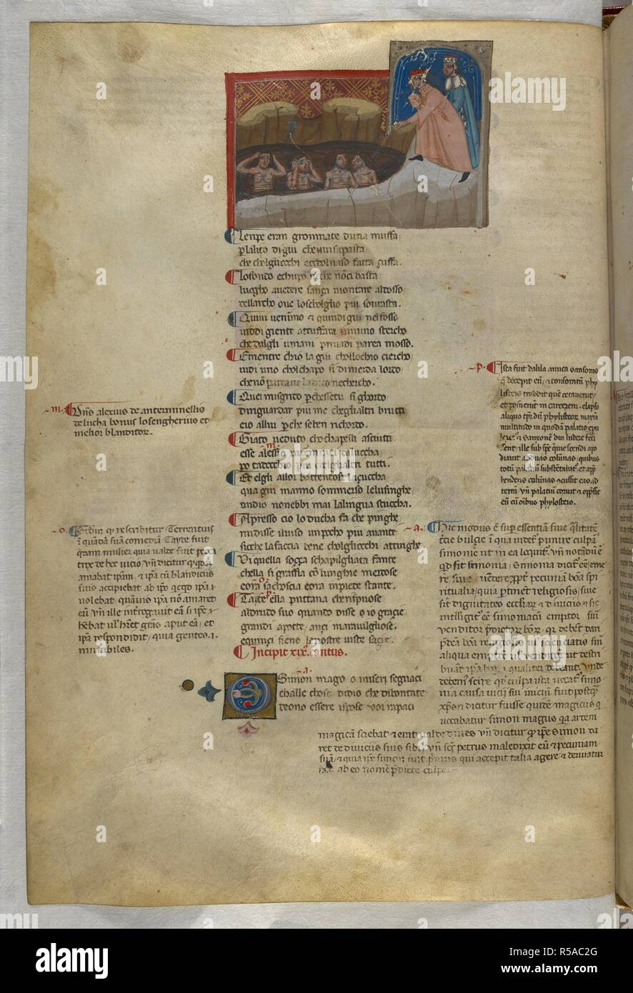Inferno: Flatterers in a pool of filth. Dante Alighieri, Divina Commedia ( The Divine Comedy ), with a commentary in Latin. 1st half of the 14th century. Source: Egerton 943, f.33v. Language: Italian, Latin. - Stock Image