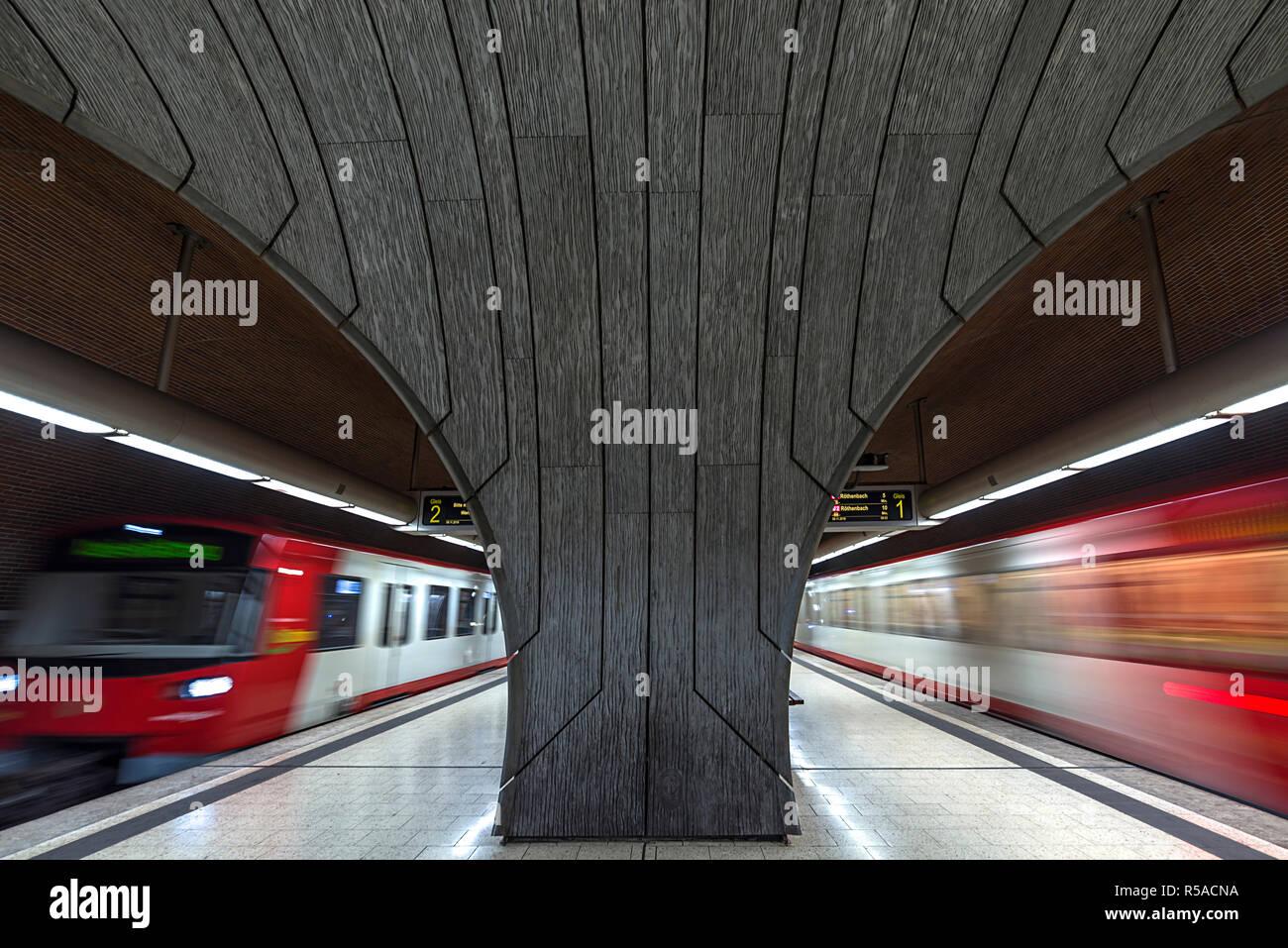 Underground station Schweinau with arriving trains, Nuremberg, Middle Franconia, Bavaria, Germany - Stock Image