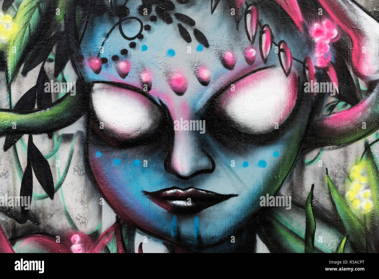 Graffiti, Woman without eyes, Headdress from snakes and bones, Portrait, Fantasy, Streetart, Hall of Fame Düsseldorf - Stock Image