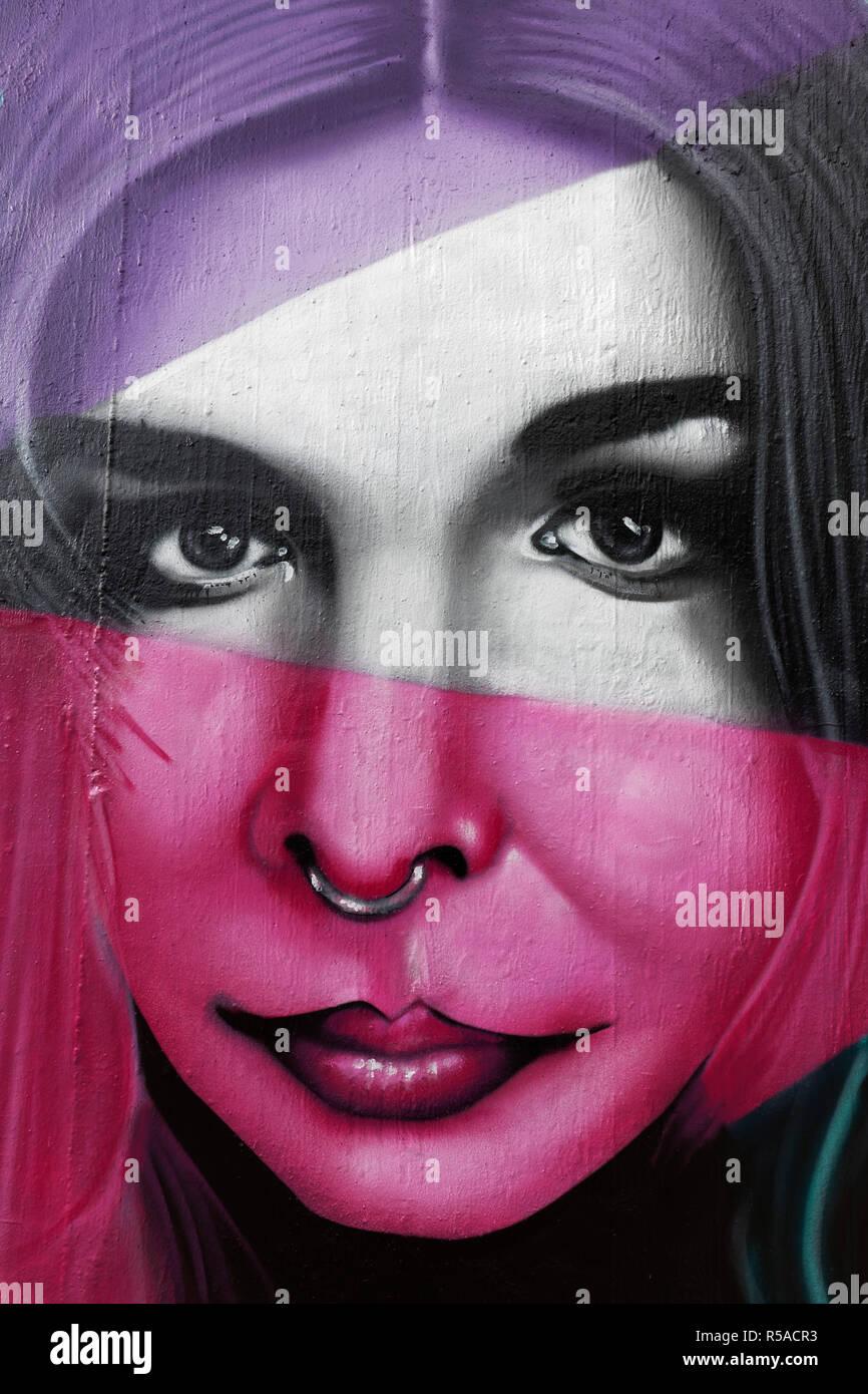 Graffiti, Woman with Septum Piercing, Nose Piercing, Portrait, Street Art, Hall of Fame Düsseldorf, Düsseldorf-Eller - Stock Image