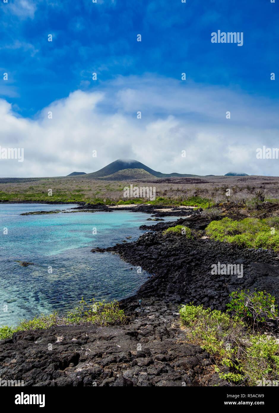 Volcanic coast, near Puerto Velazco Ibarra, Floreana or Charles Island, Galapagos, Ecuador - Stock Image