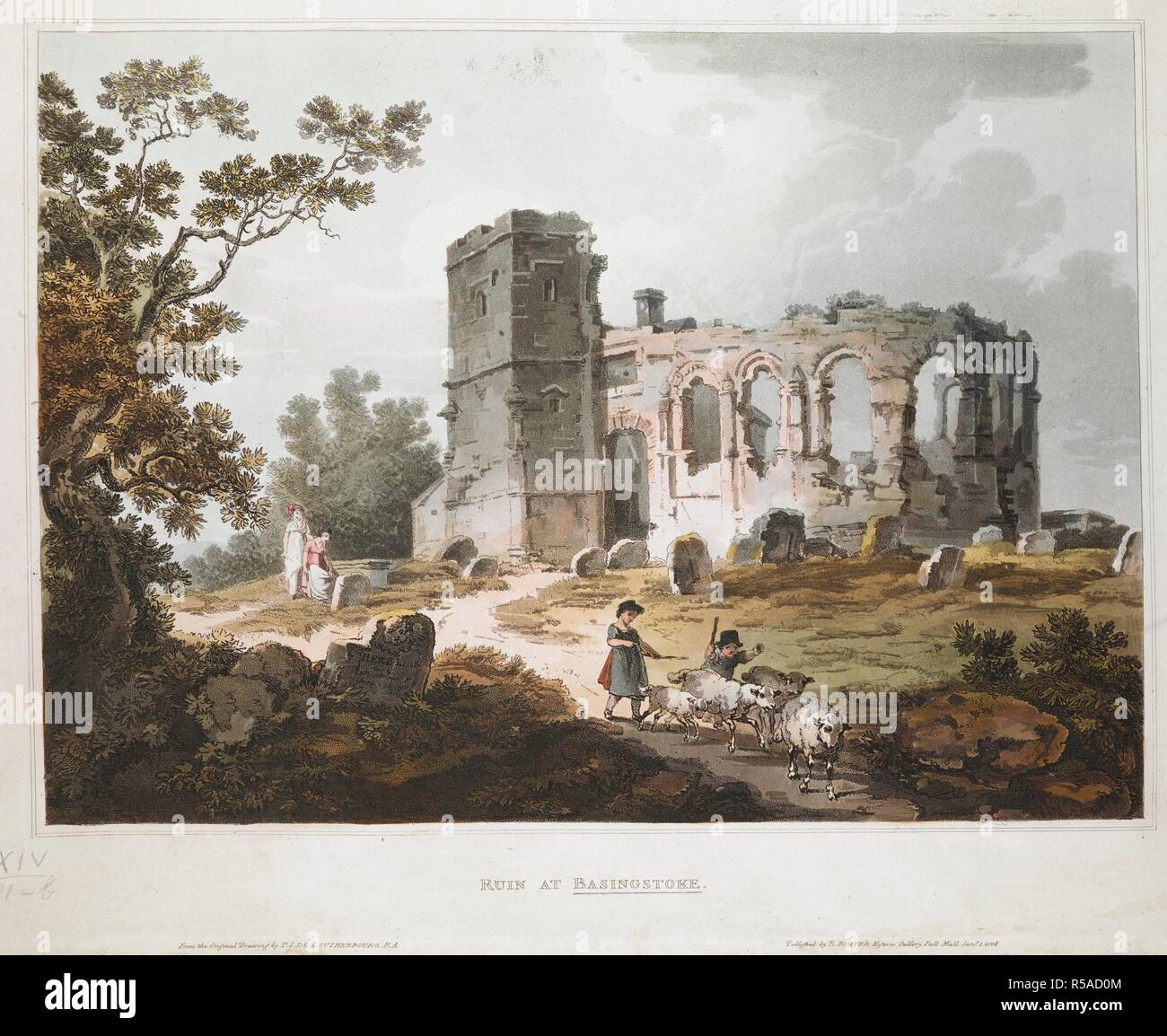 A ruined chapel in the middle distance with arched windows, its nave to the right, a tower to the left, behind a cemetery where two women rest on the left; two children in the foreground chasing four sheep  . RUIN AT BASINGSTOKE. [London] : Published by R. BOWYER Historie Gallery, Pall Mall, Jany 1 1808. Aquatint and etching with hand-colouring. Source: Maps K.Top.14.21.b. Language: English. Author: Philippe-Jacques de Loutherbourg. Stock Photo