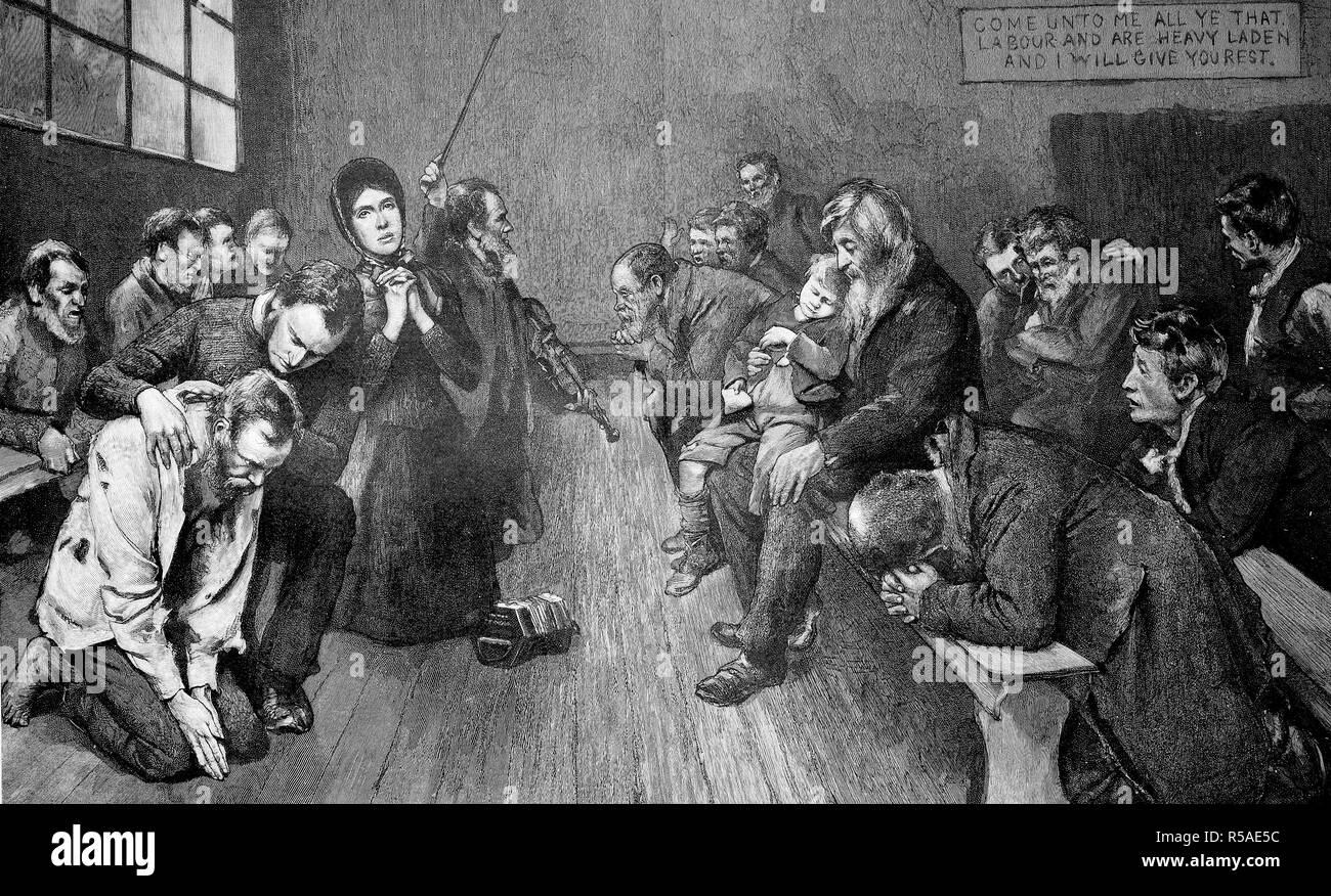 Prayer and silent worship of The Salvation Army, a Protestant Christian church, woodcut, 1885, England - Stock Image