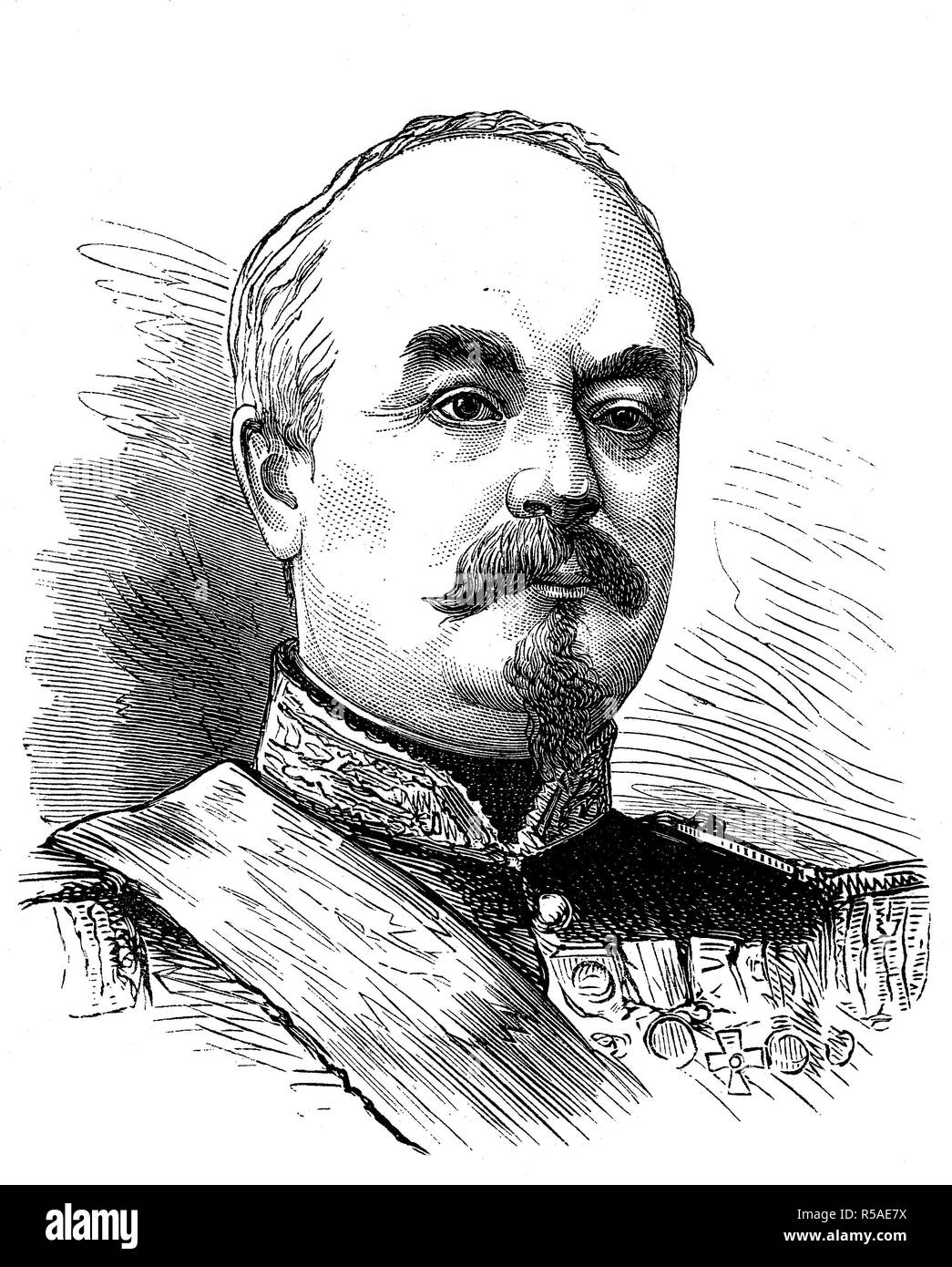 François Achille Bazaine, 13 February 1811, 23 September 1888, was an officer of the French army, woodcut, portrait, France - Stock Image