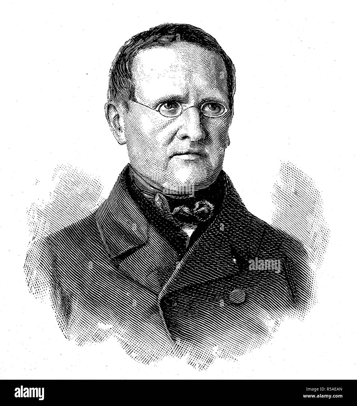 Otto Theodor Freiherr von Manteuffel, 3 February 1805, 26 November 1882, Prussian politician, Prussian Prime Minister, woodcut Stock Photo